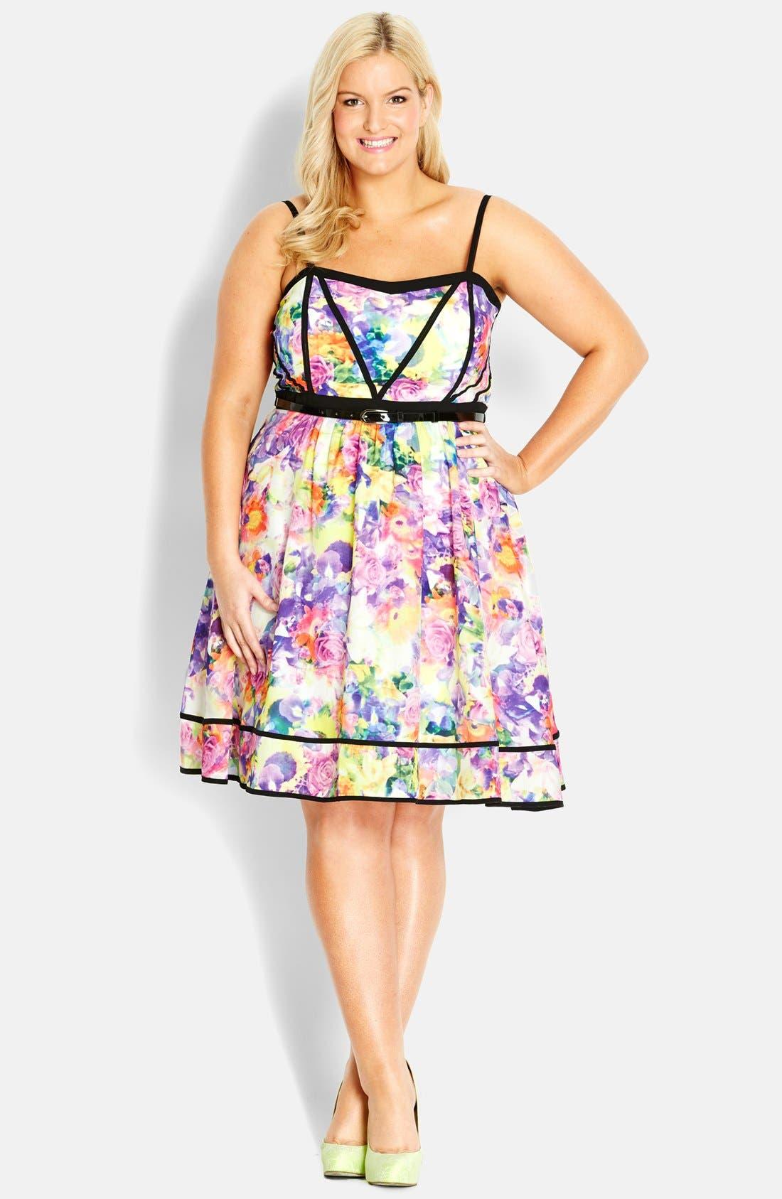 Main Image - City Chic 'Rose Mirage' Dress (Plus Size)