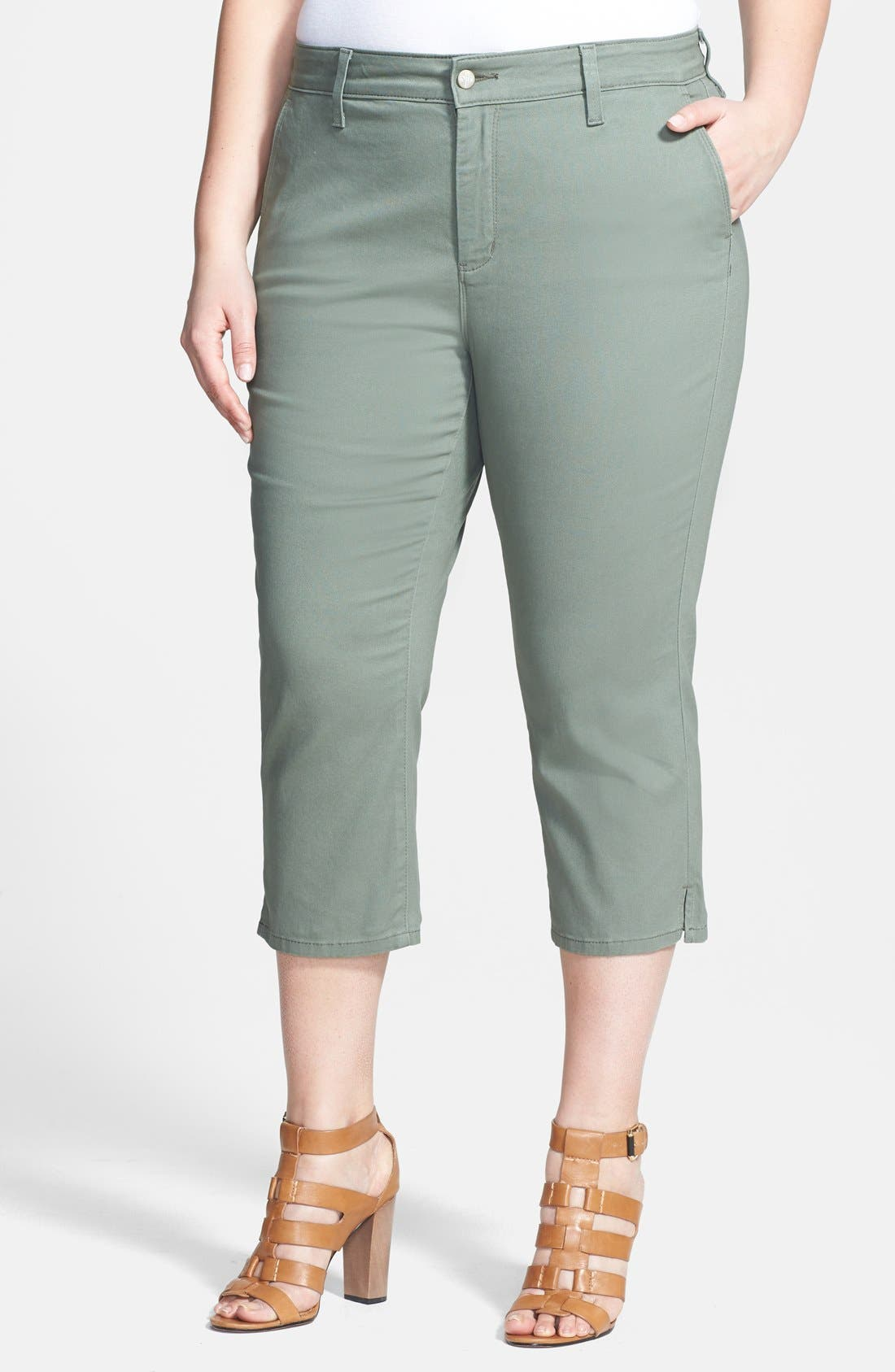 Alternate Image 1 Selected - NYDJ 'Amara' Crop Stretch Cotton Pants (Plus Size)