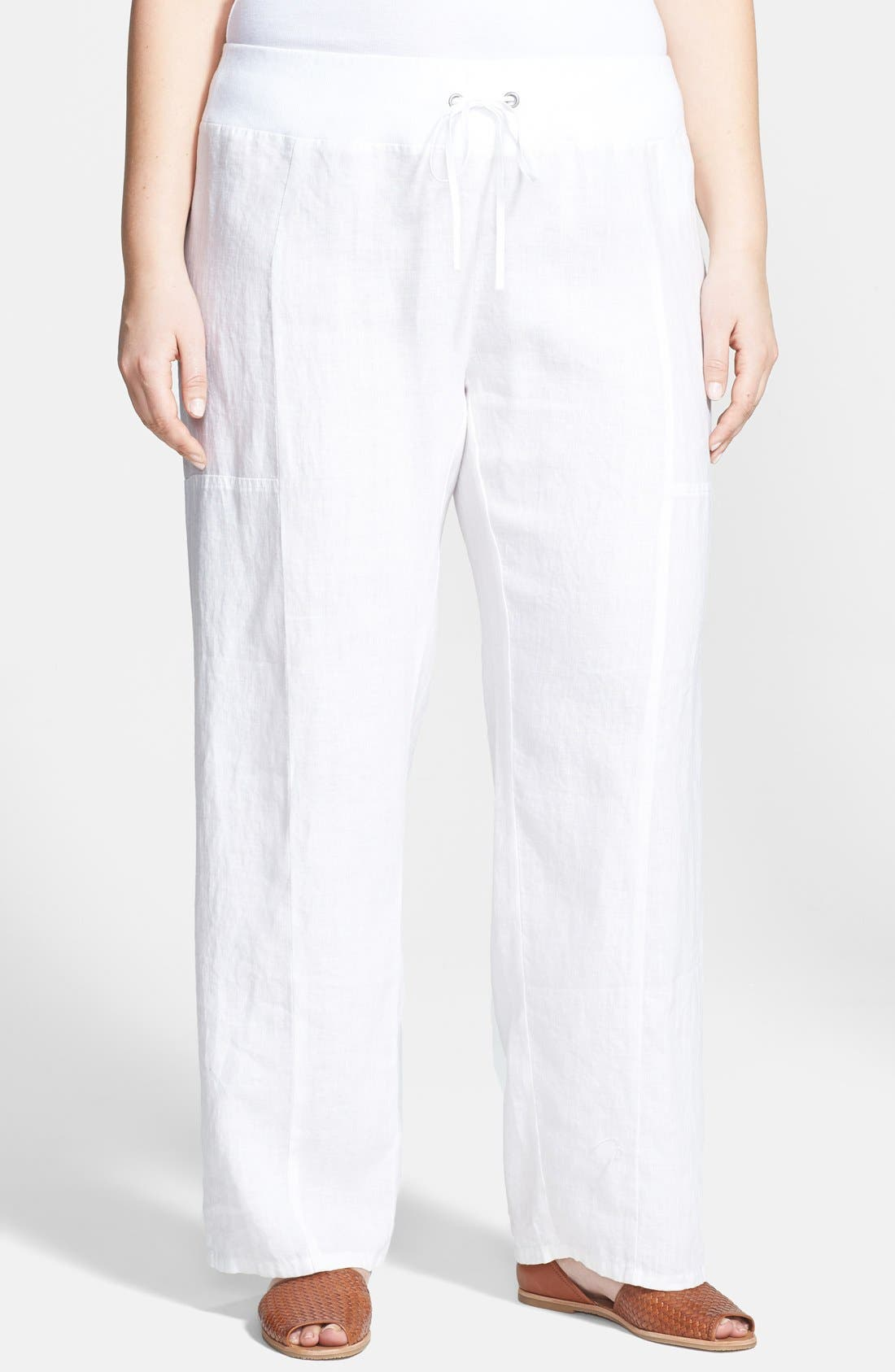 Alternate Image 1 Selected - Eileen Fisher Organic Linen Wide Leg Pants