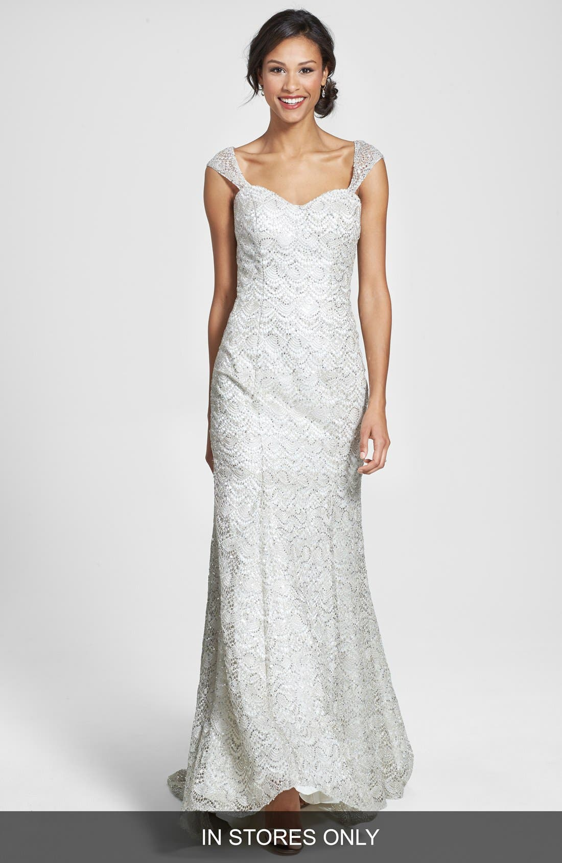 Alternate Image 1 Selected - Olia Zavozina Beaded Metallic Lace Gown (In Stores Only)