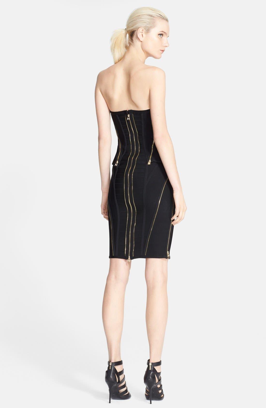 Alternate Image 2  - Herve Leger Zip Detail Bandage Peplum Dress