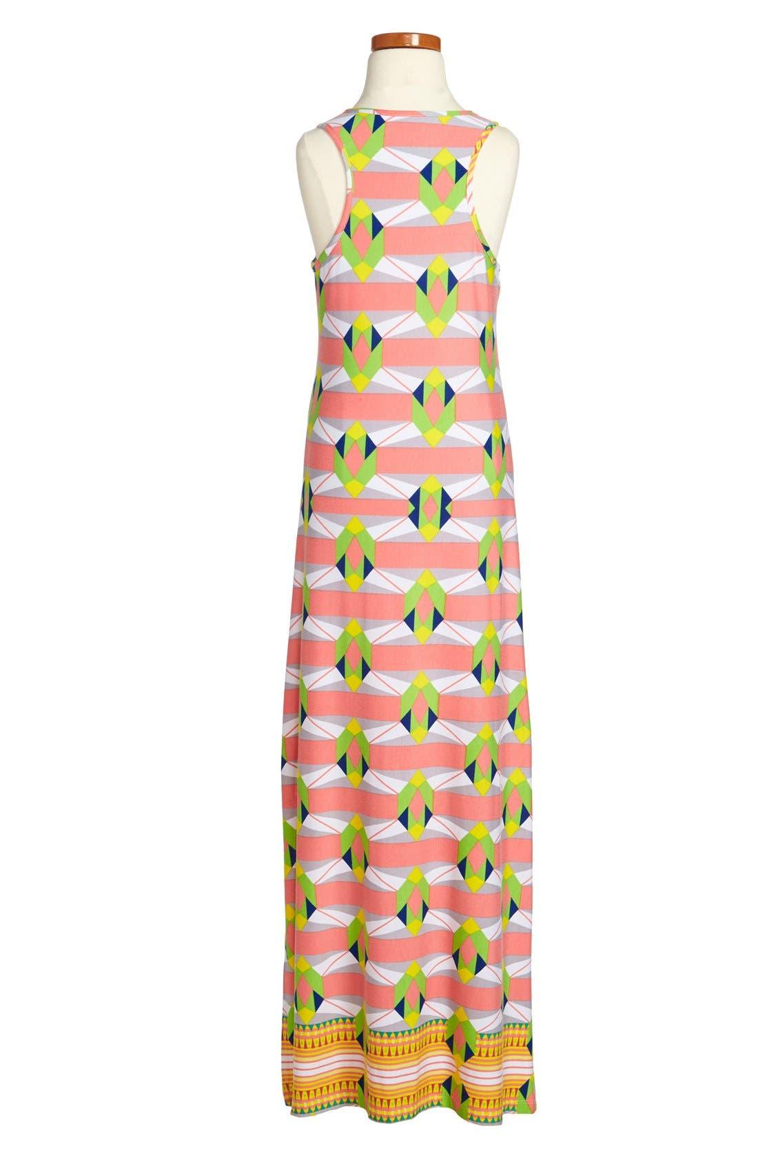 Alternate Image 2  - Mia Chica Geometric Print Maxi Dress (Big Girls)