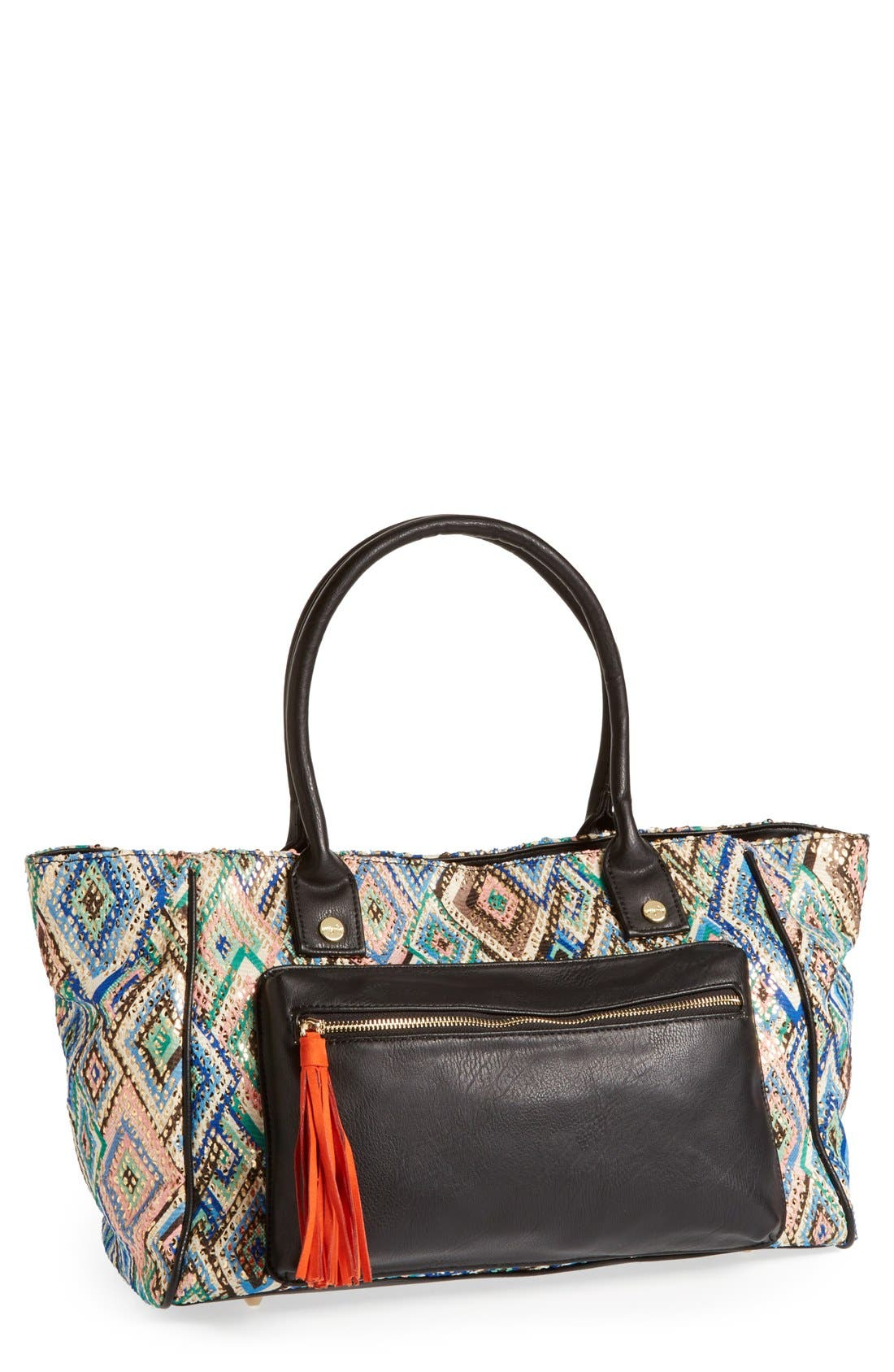 Main Image - pretty ships 'Bahia' Print Fabric & Faux Leather Tote