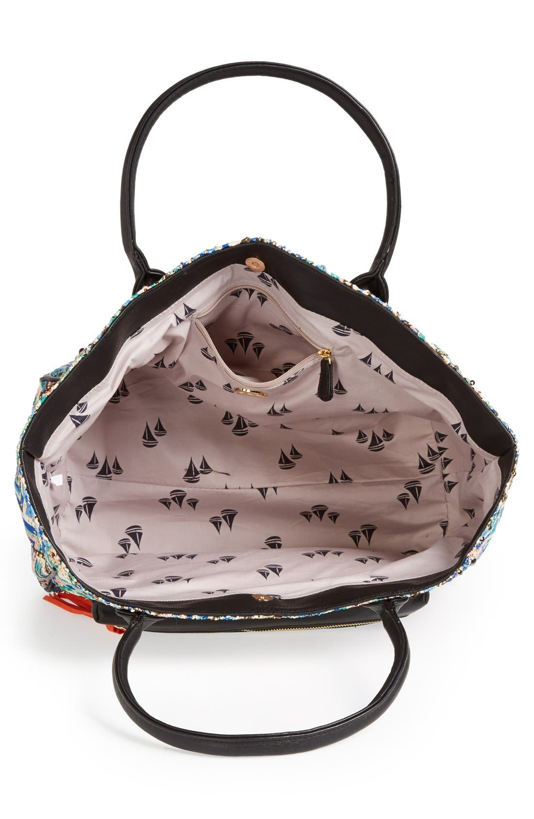 Alternate Image 3  - pretty ships 'Bahia' Print Fabric & Faux Leather Tote
