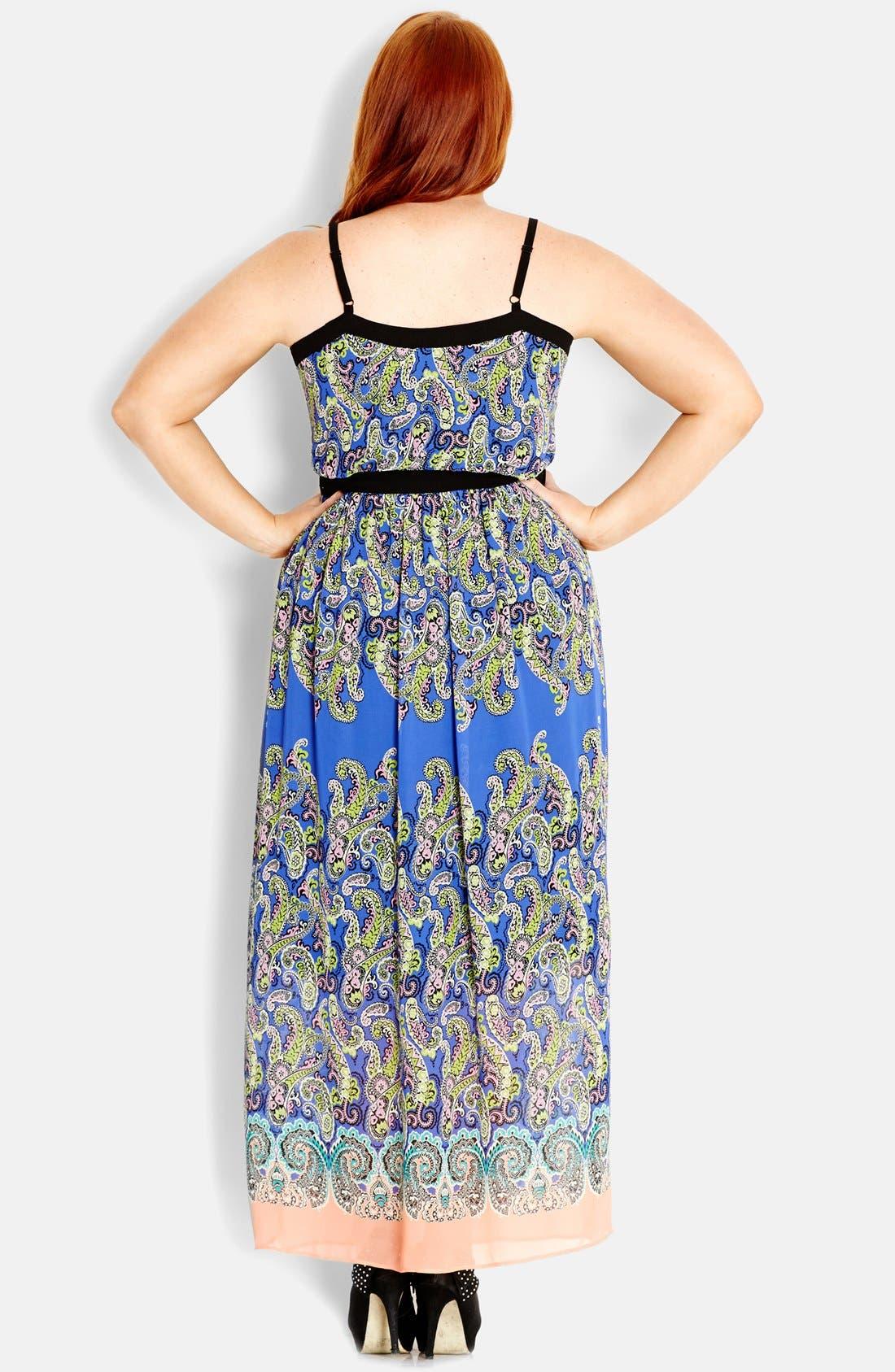 Alternate Image 2  - City Chic 'Paisley Blues' Maxi Dress (Plus Size)
