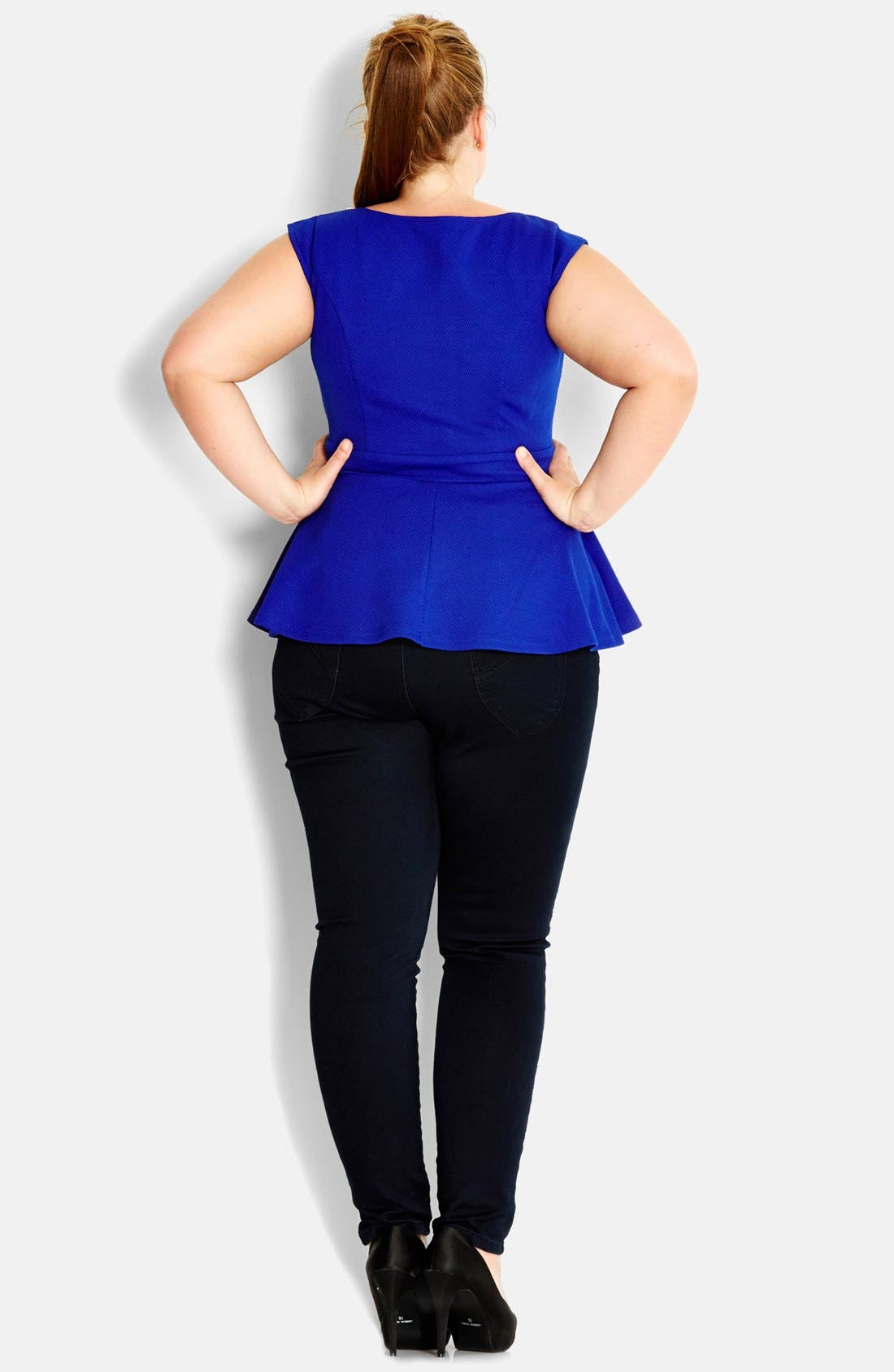 Alternate Image 2  - City Chic Embellished Neck Ponte Knit Peplum Top (Plus Size)