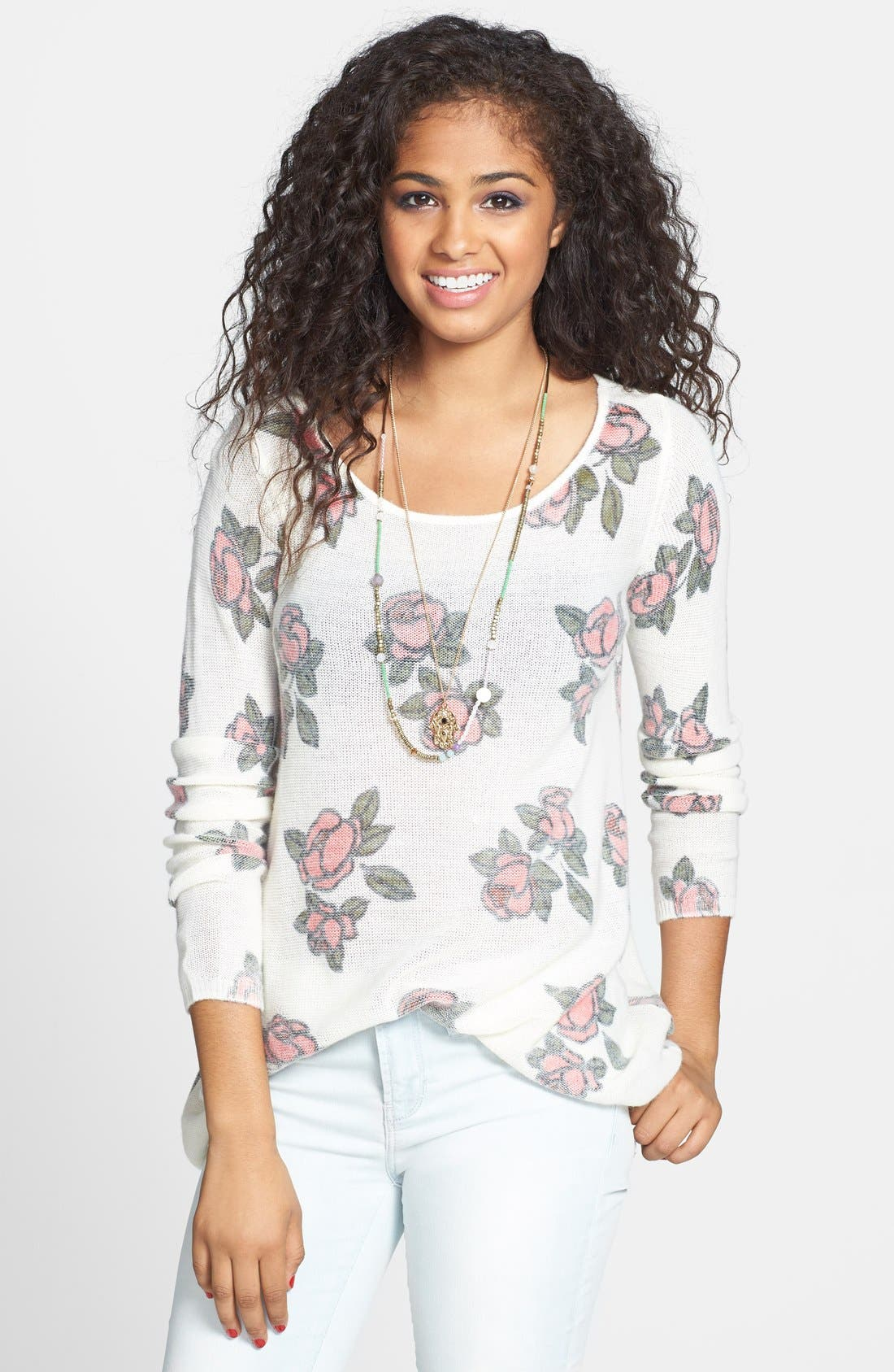 Main Image - Frenchi® 'Floral Grunge' Tunic Pullover (Juniors)