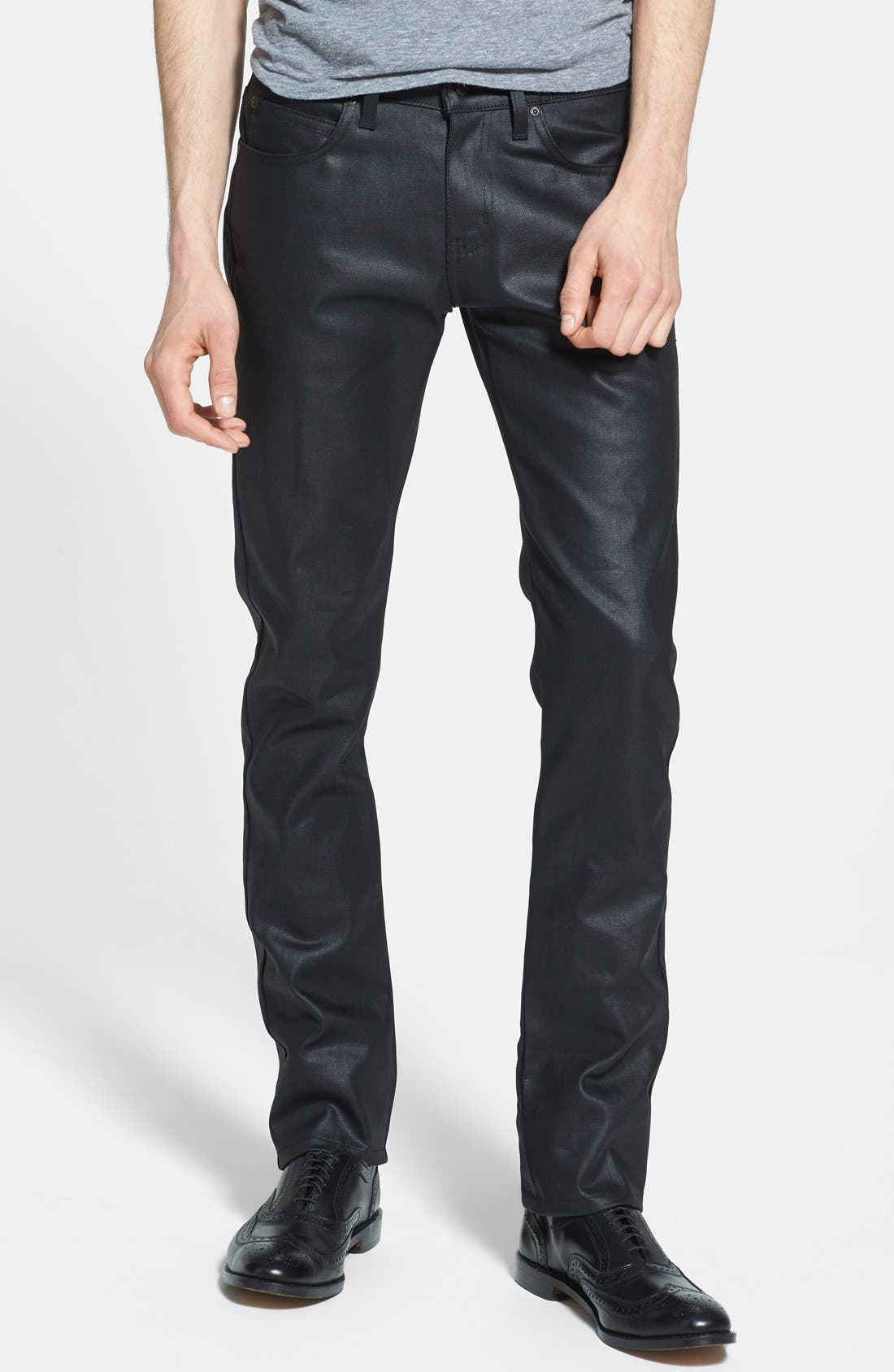Alternate Image 1 Selected - Naked & Famous Denim 'Skinny Guy' Skinny Fit Jeans (Wax Coated Black Stretch)