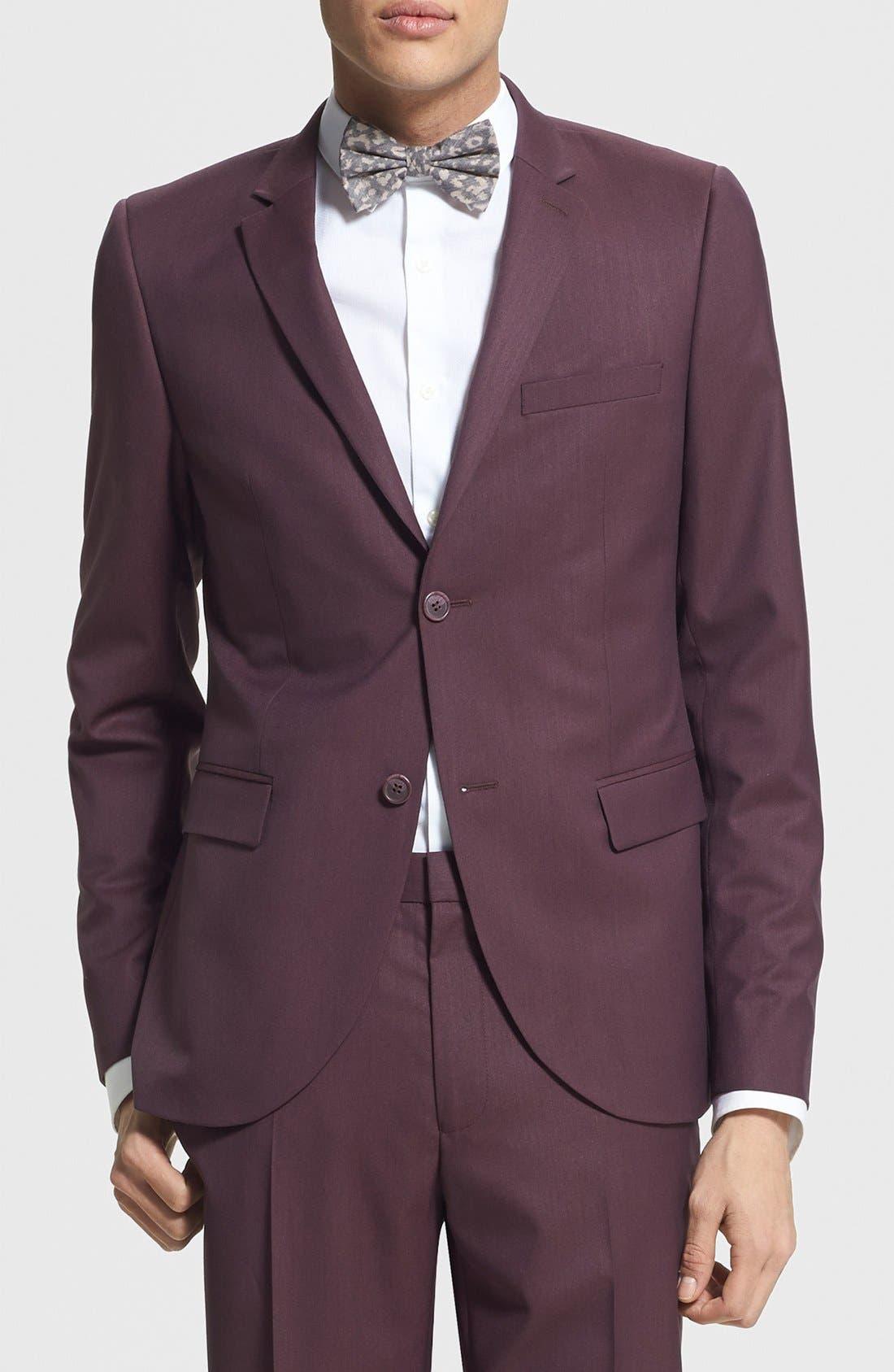 Main Image - Topman Skinny Fit Burgundy Suit Jacket