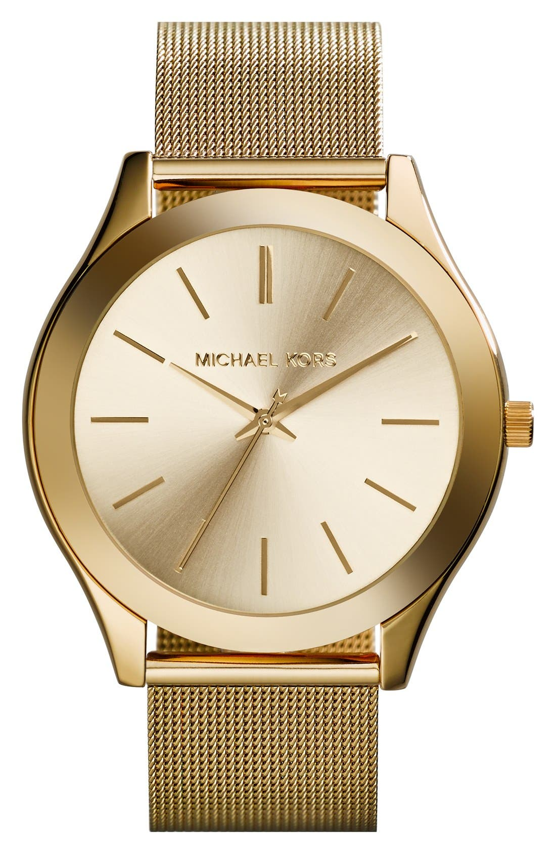 Alternate Image 1 Selected - Michael Kors 'Slim Runway' Mesh Strap Watch, 42mm