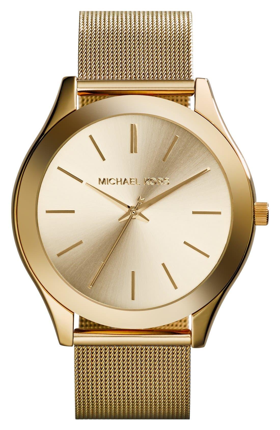 Main Image - Michael Kors 'Slim Runway' Mesh Strap Watch, 42mm