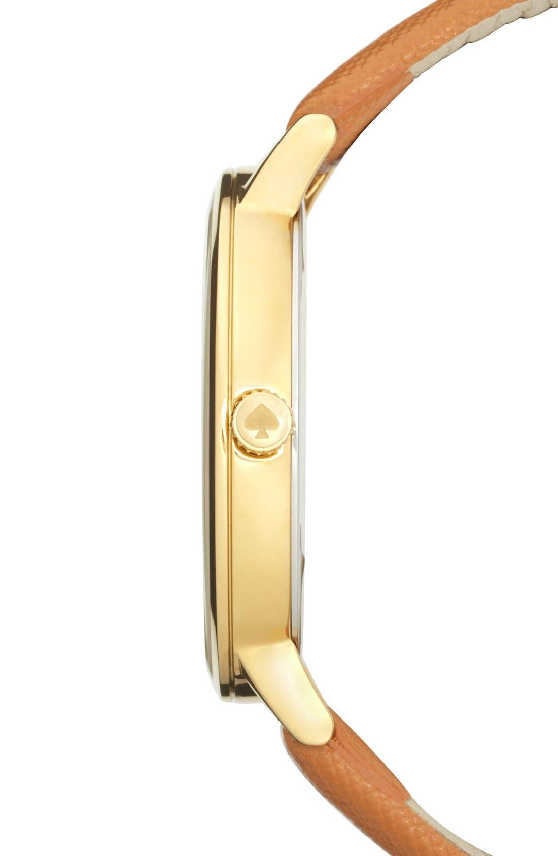 Alternate Image 3  - kate spade new york 'metro grand' round leather strap watch, 38mm
