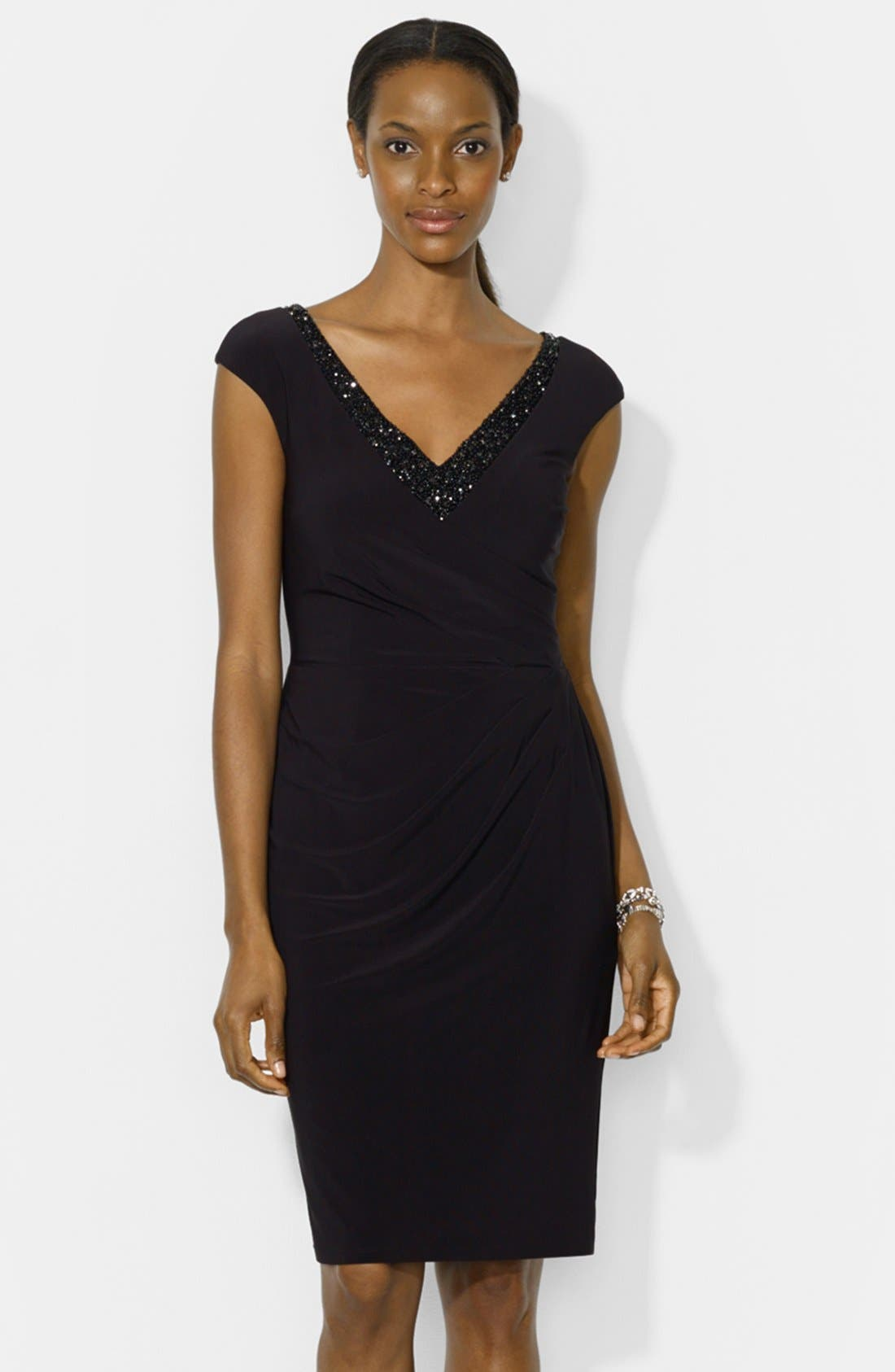 Alternate Image 1 Selected - Lauren Ralph Lauren Embellished Cap Sleeve Jersey Sheath Dress