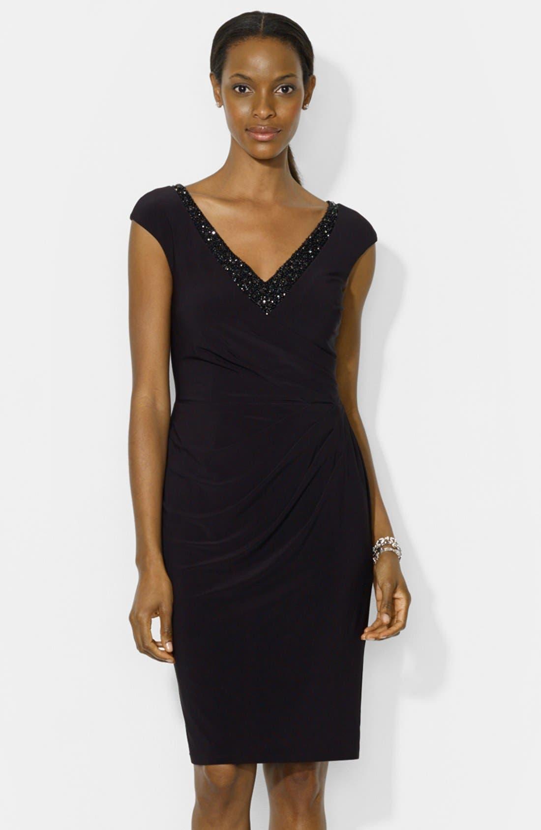 Main Image - Lauren Ralph Lauren Embellished Cap Sleeve Jersey Sheath Dress