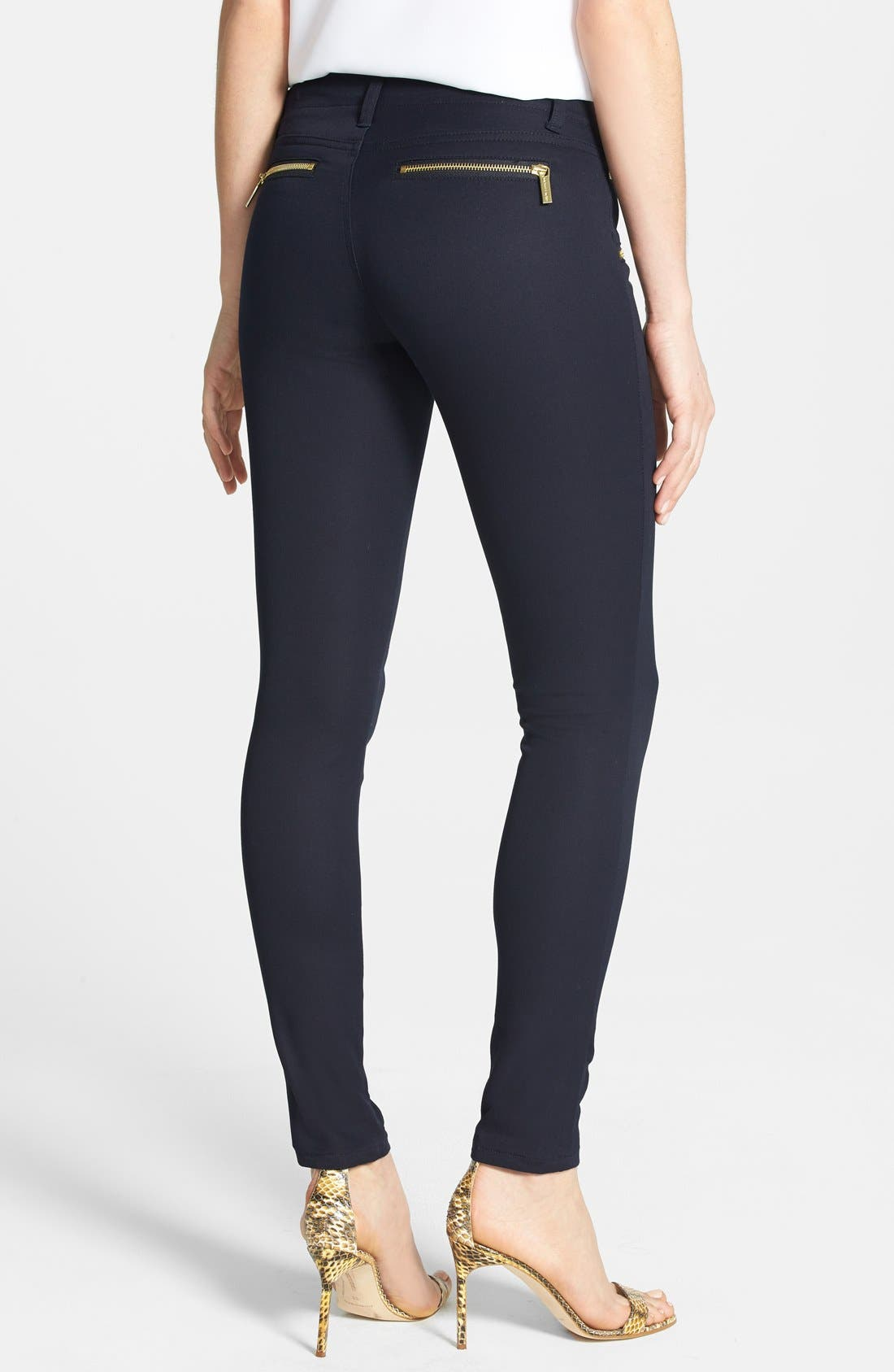Alternate Image 2  - MICHAEL Michael Kors 'Rocker' Navy Skinny Pants