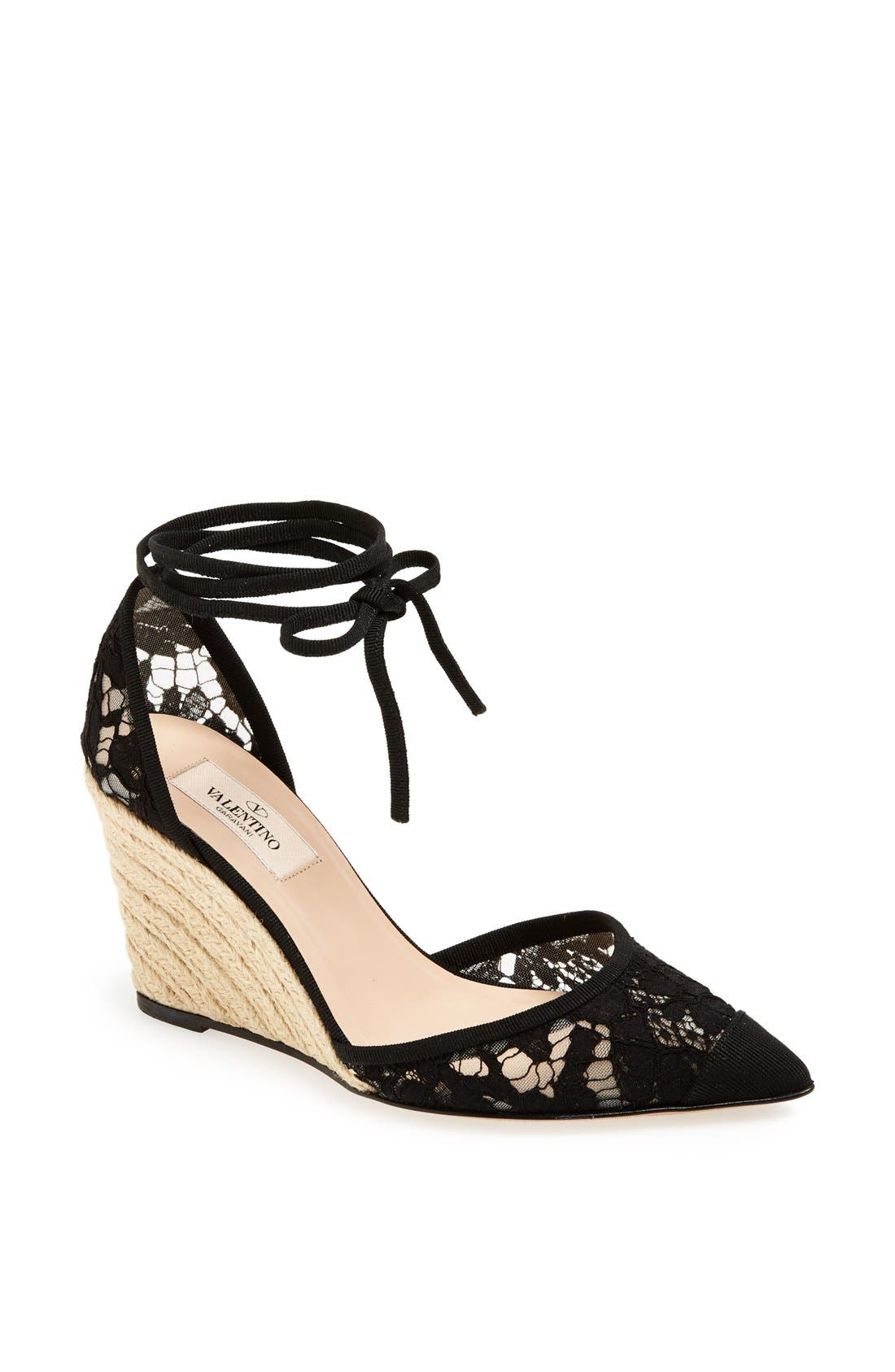 Alternate Image 1 Selected - Valentino 'Lace' Espadrille Wedge