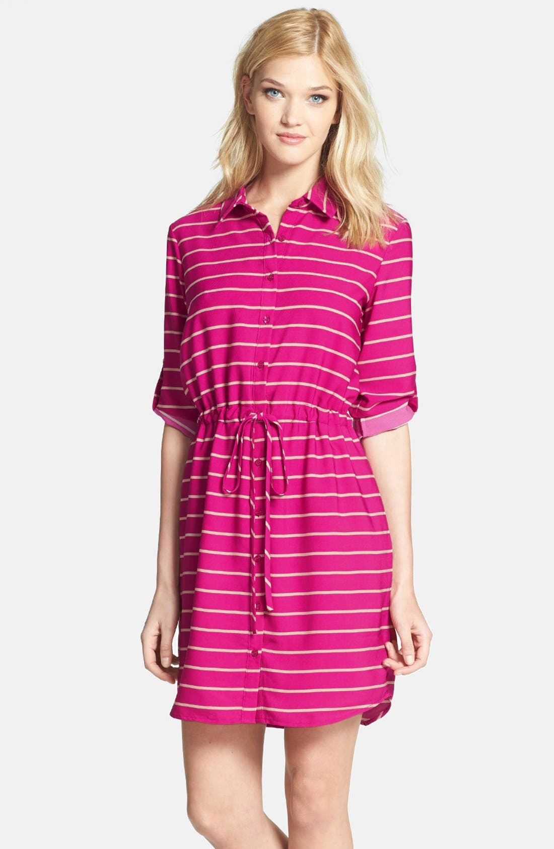 Main Image - Collective Concepts Stripe Roll Sleeve Crêpe de Chine Shirtdress