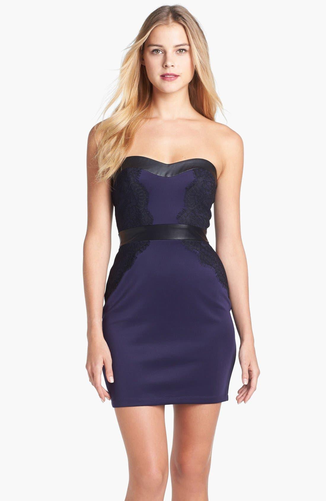 Main Image - GUESS Mixed Media Mini Sheath Dress