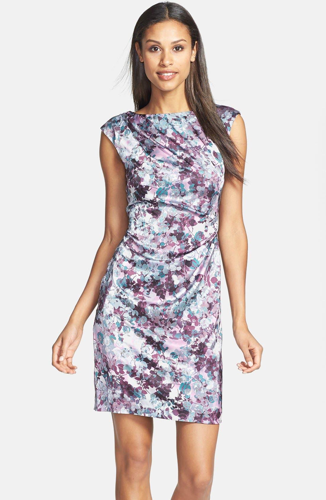 Main Image - Ivy & Blue Floral Print Sheath Dress