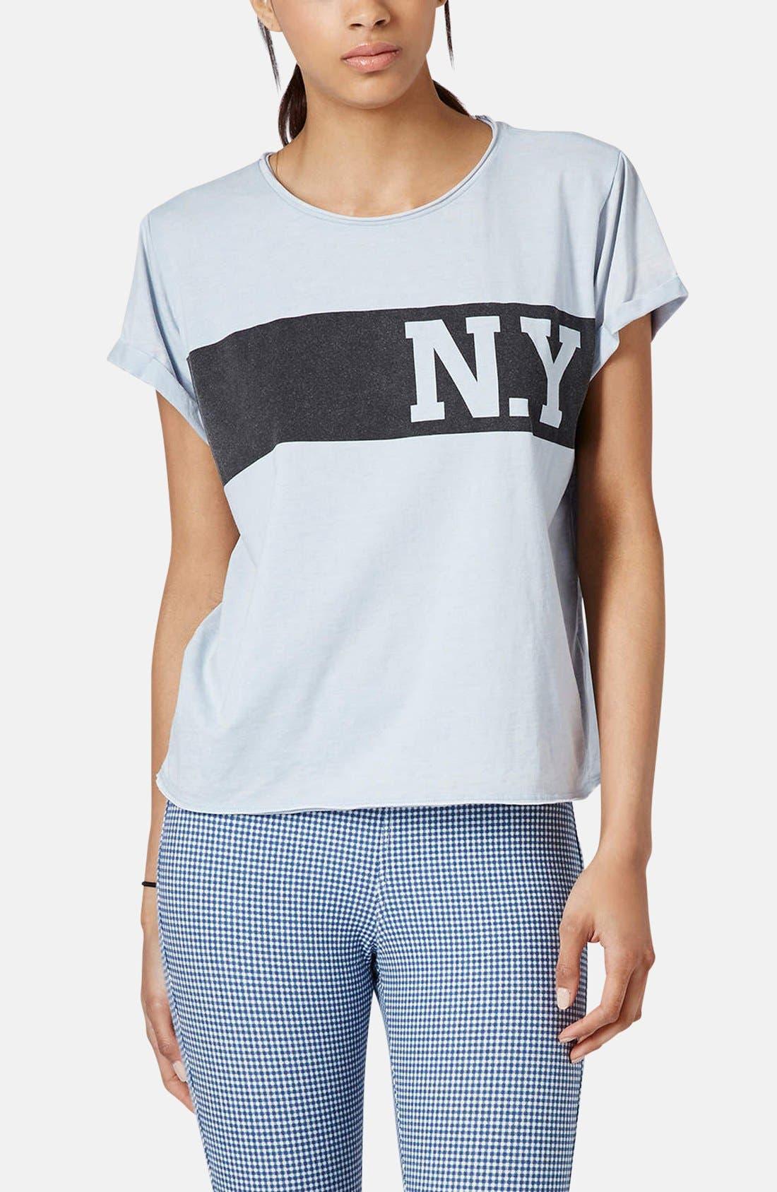 Main Image - Topshop 'New York' Graphic Tee (Petite)
