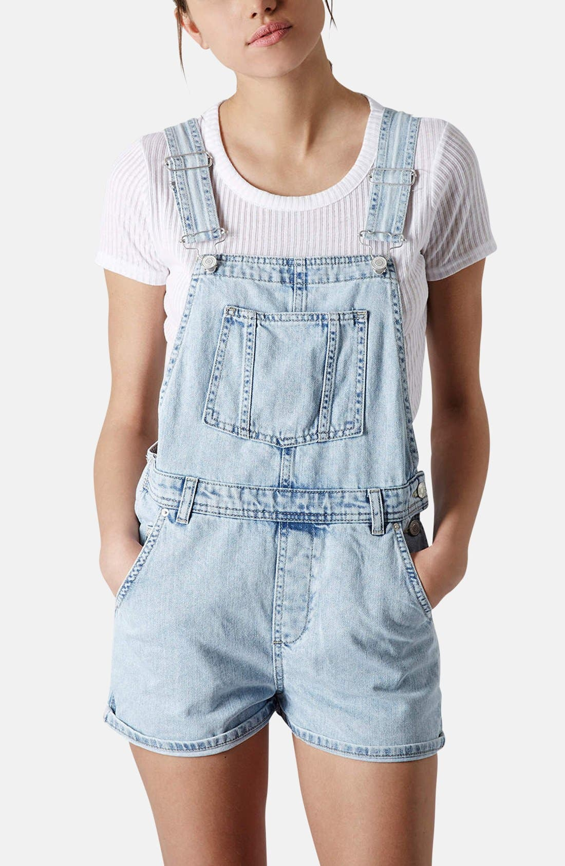 Alternate Image 1 Selected - Topshop Moto Short Overalls (Petite)