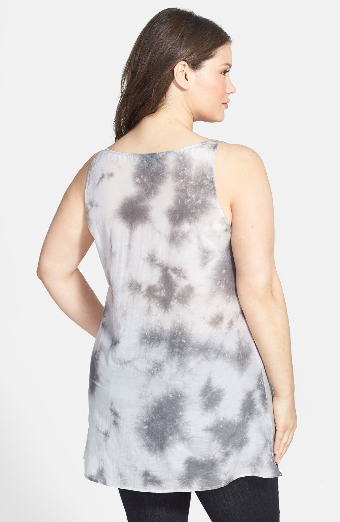 Alternate Image 2  - Eileen Fisher Scoop Neck Long Cotton & Silk Shell (Plus Size)