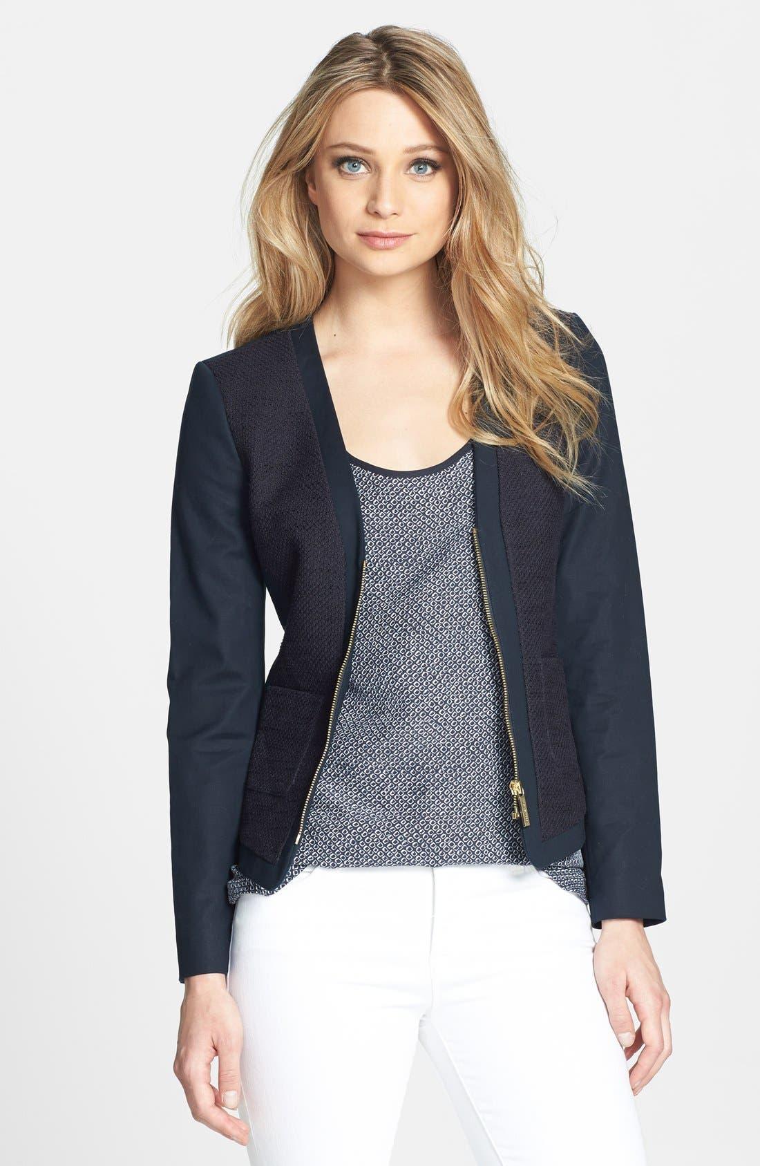 Main Image - MICHAEL Michael Kors Mixed Media V-Neck Jacket
