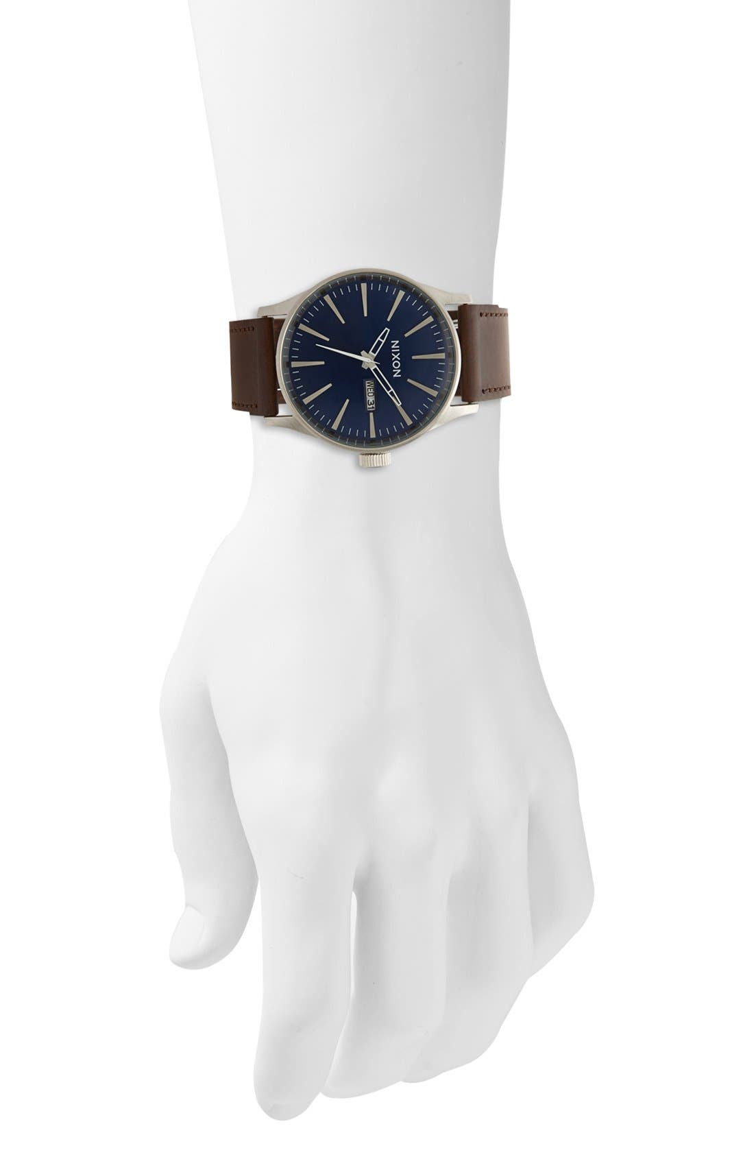 Alternate Image 4  - Nixon The Sentry Leather Strap Watch, 42mm