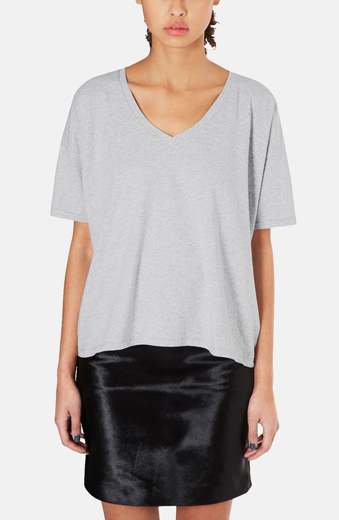 Main Image - Topshop Boutique Oversized Cotton V-Neck Tee