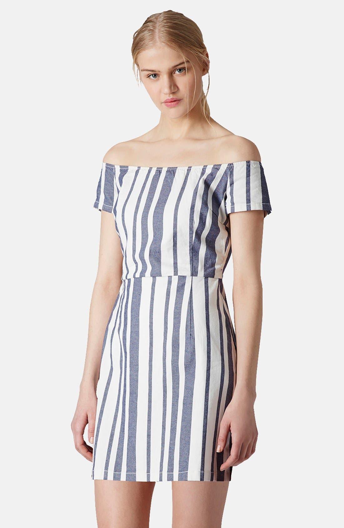 Main Image - Topshop Moto Stripe Off Shoulder Denim Dress