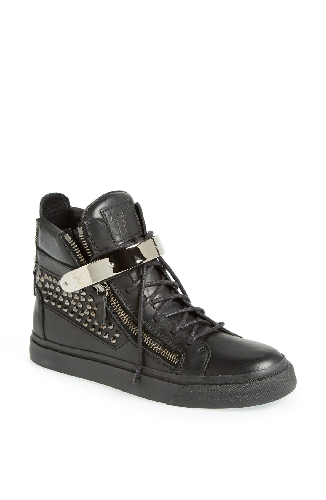 Alternate Image 1 Selected - Giuseppe Zanotti Studded High Top Sneaker (Women)