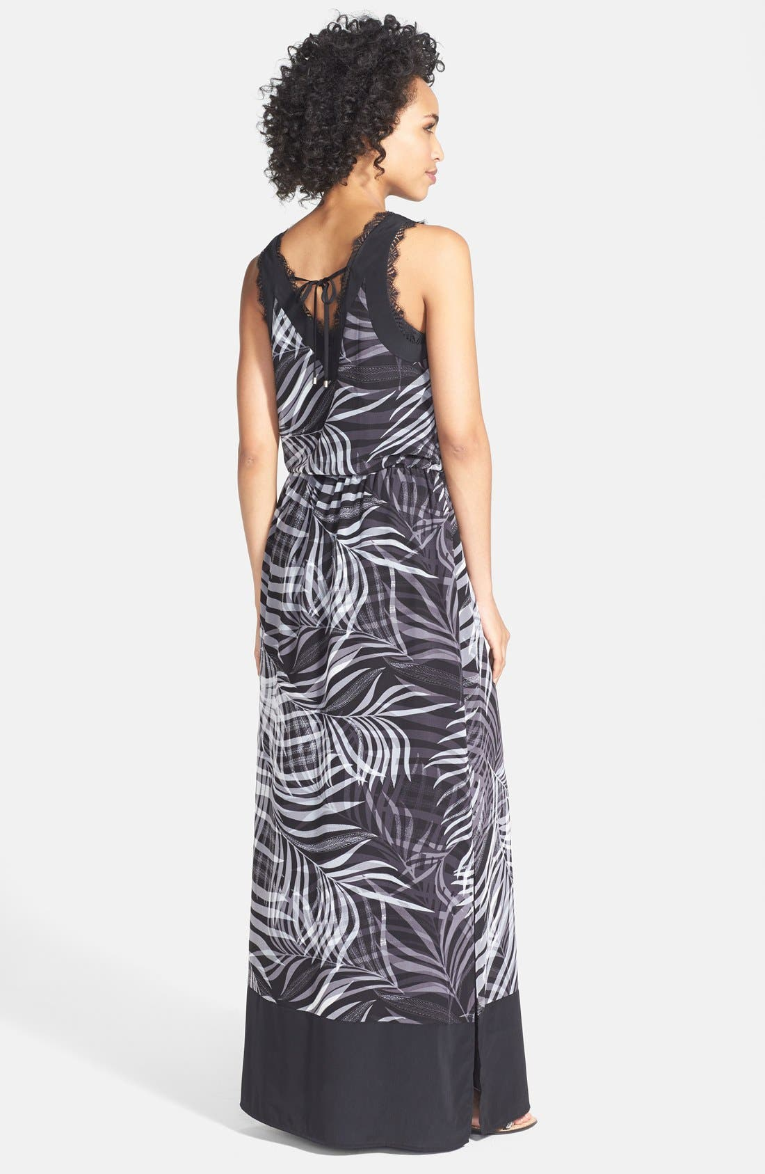 Alternate Image 2  - Adrianna Papell Print Woven V-Neck Maxi Dress