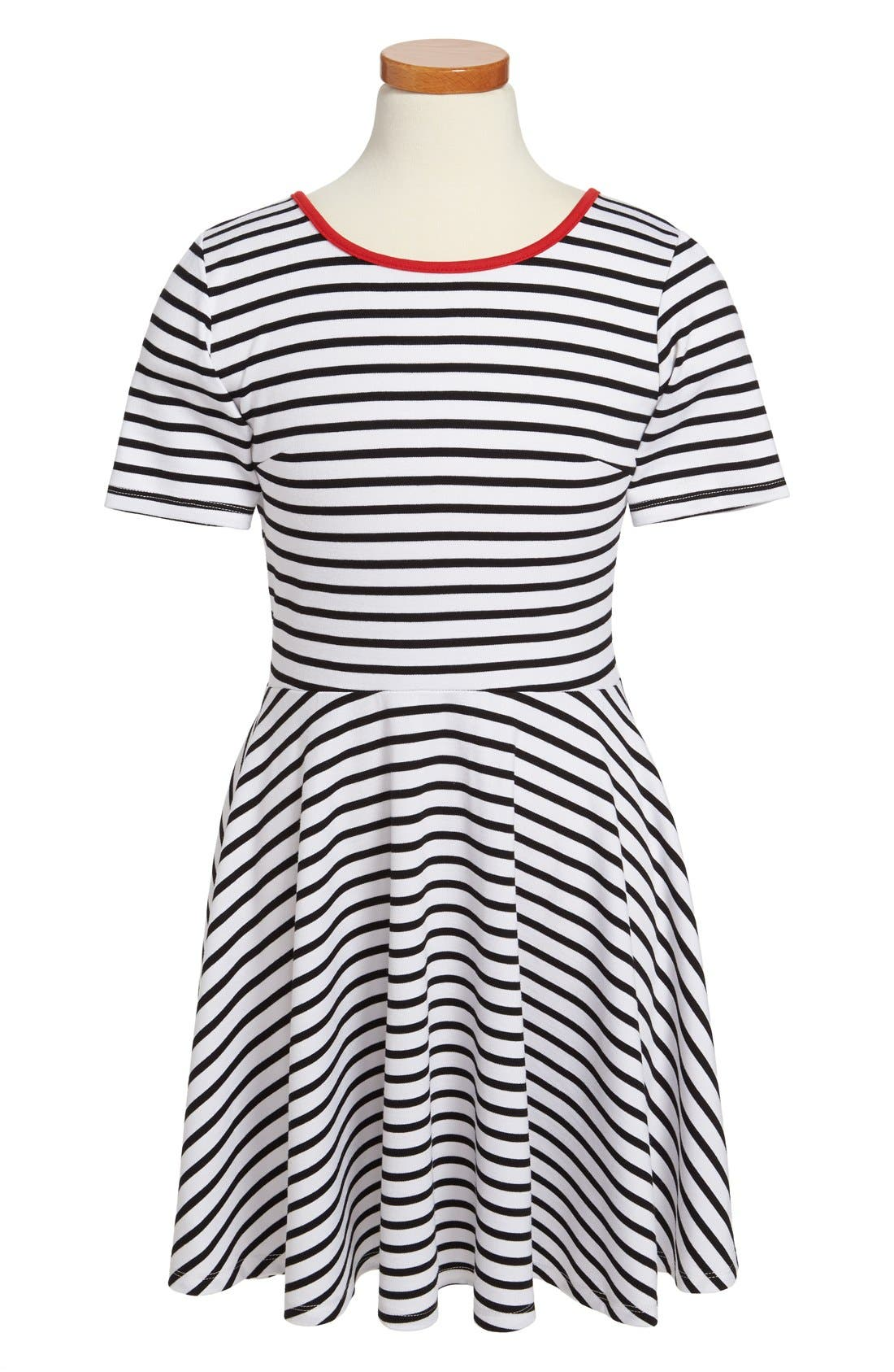 Main Image - Miss Behave 'Lacey' Ponte Knit Stripe Skater Dress (Big Girls)