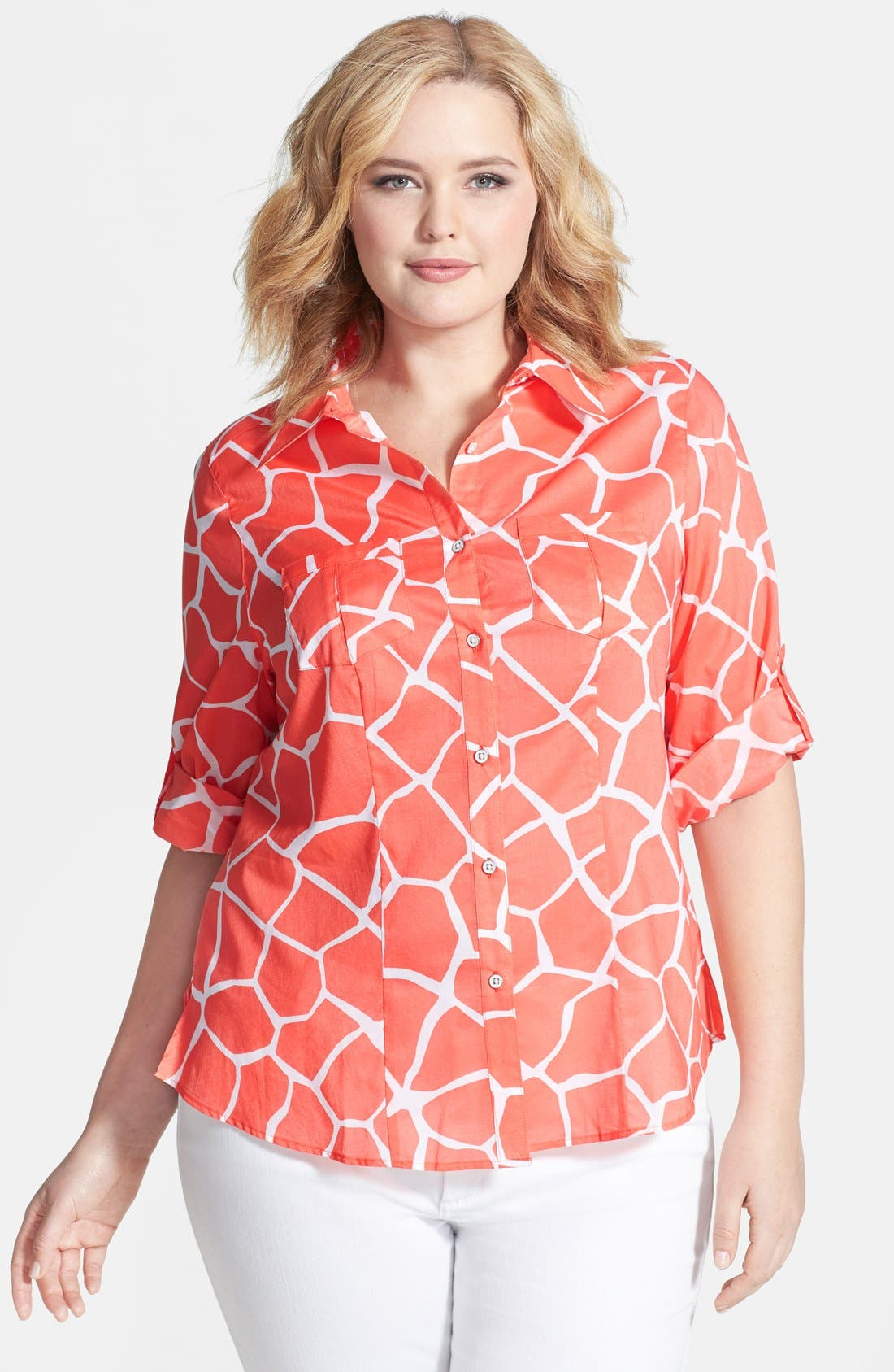 Main Image - Foxcroft Fitted Giraffe Print Cotton Roll Sleeve Shirt (Plus Size)