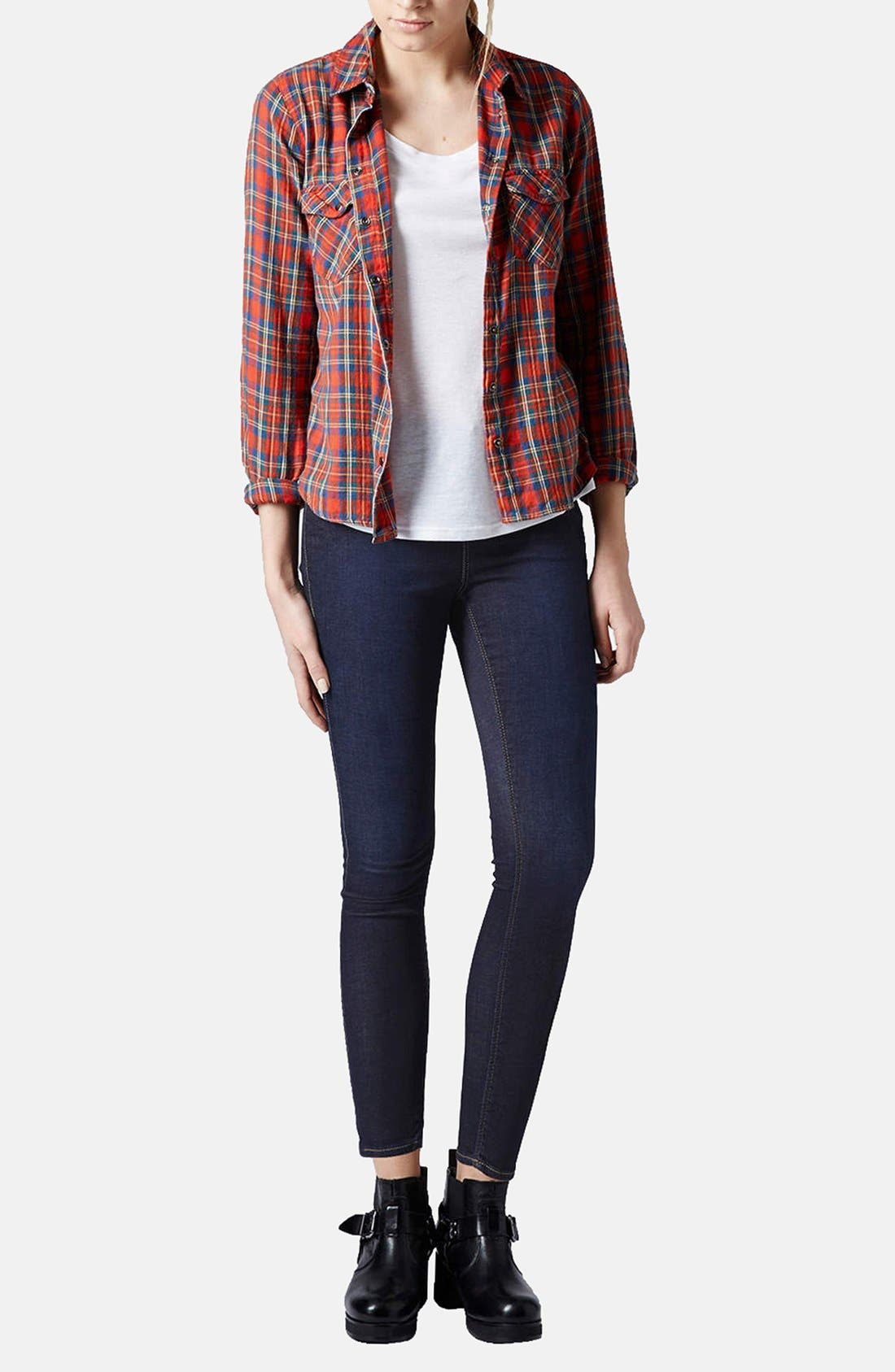 Alternate Image 5  - Topshop Moto 'Leigh' Skinny Jeans (Mid Stone) (Petite)