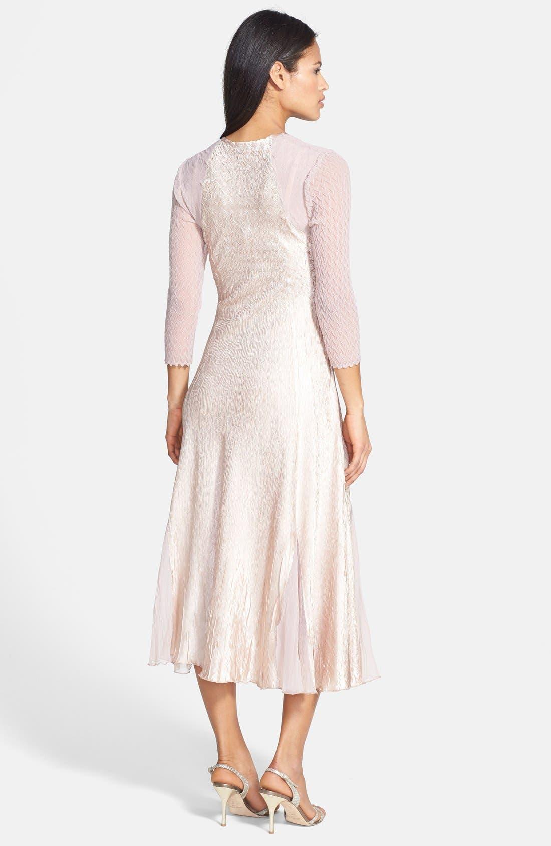 Alternate Image 2  - Komarov Charmeuse & Chiffon Dress