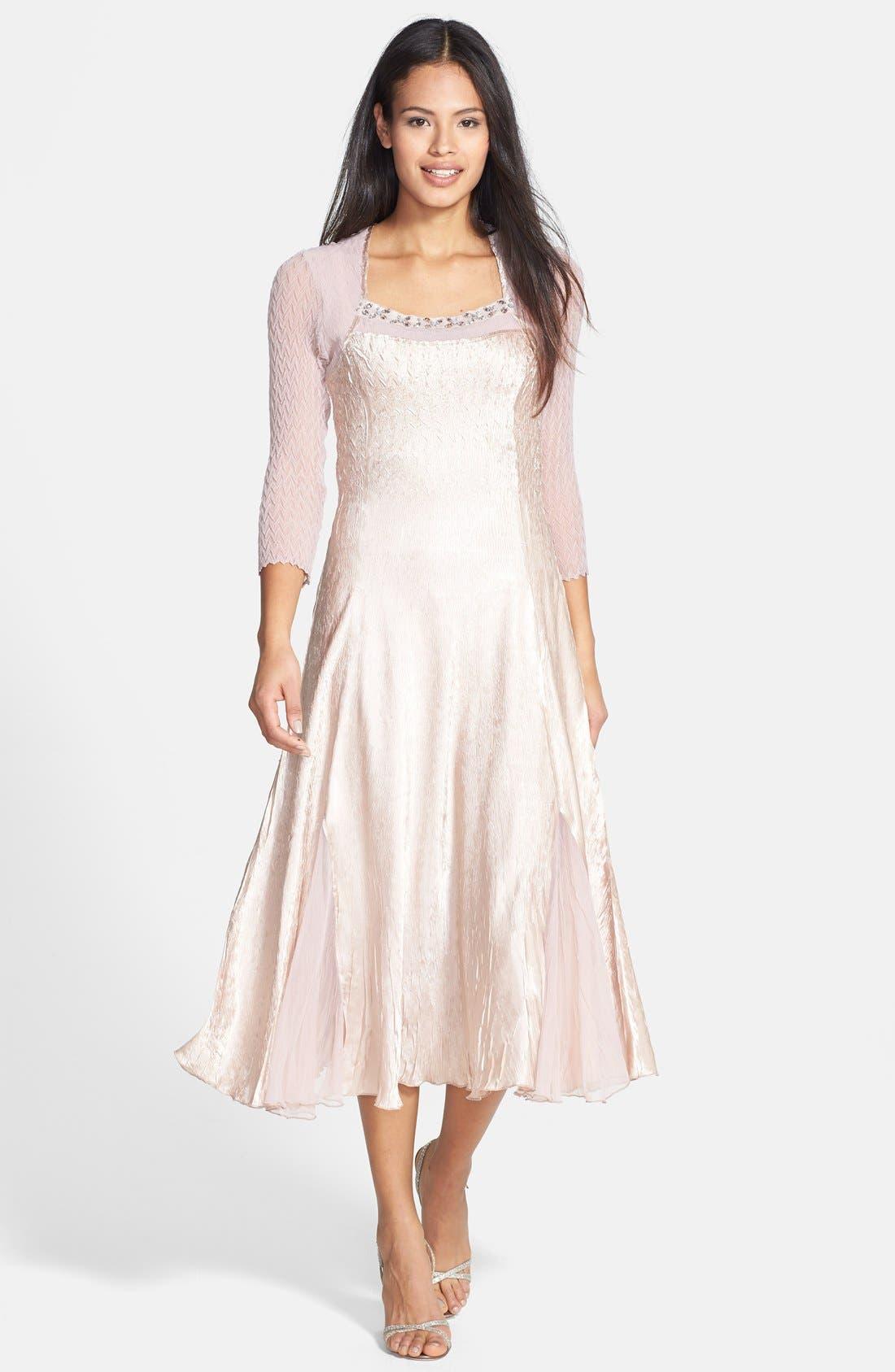 Alternate Image 1 Selected - Komarov Charmeuse & Chiffon Dress