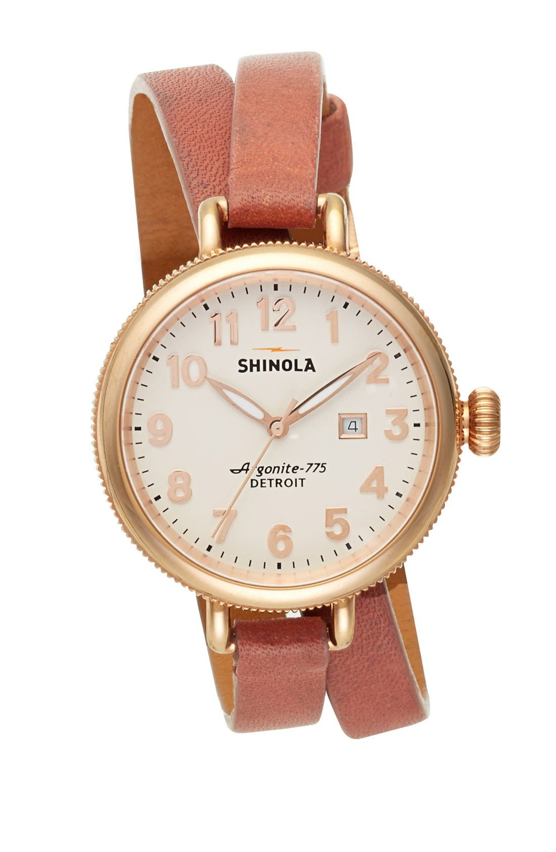 Main Image - Shinola 'The Birdy' Double Wrap Leather Strap Watch, 34mm