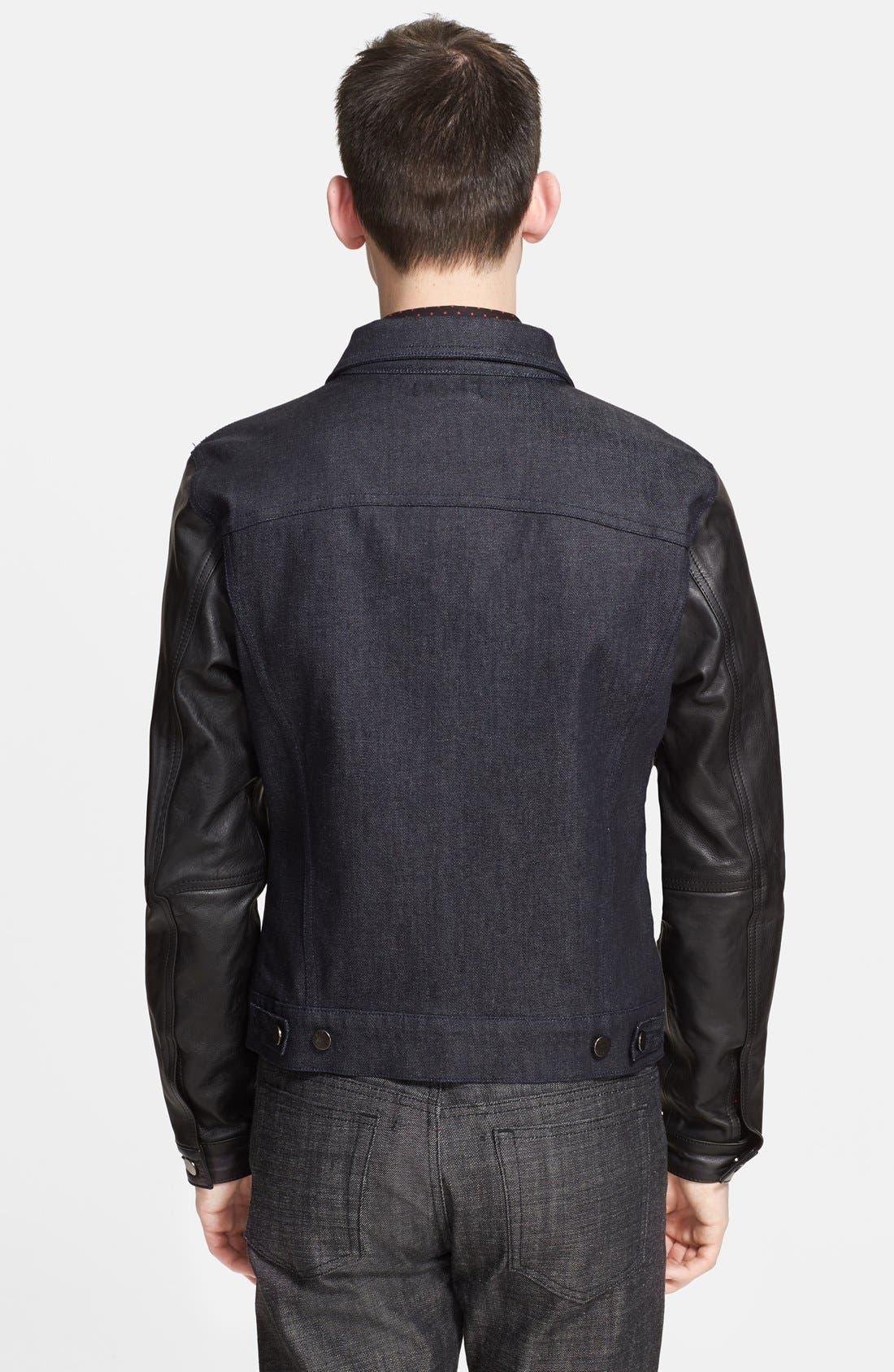 Alternate Image 2  - The Kooples Denim Jacket with Leather Sleeves