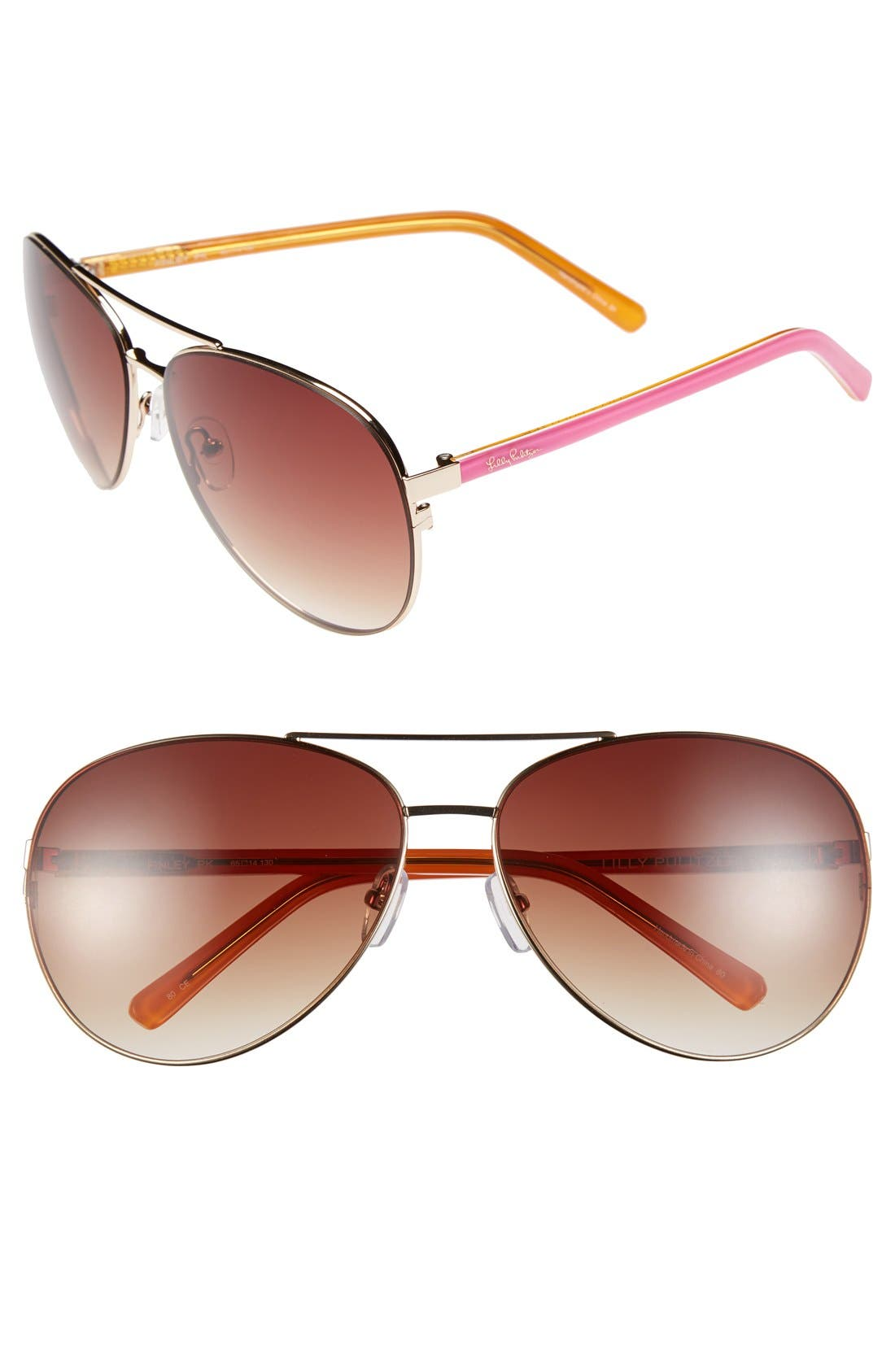 Alternate Image 1 Selected - Lilly Pulitzer® 'Finley' 65mm Aviator Sunglasses