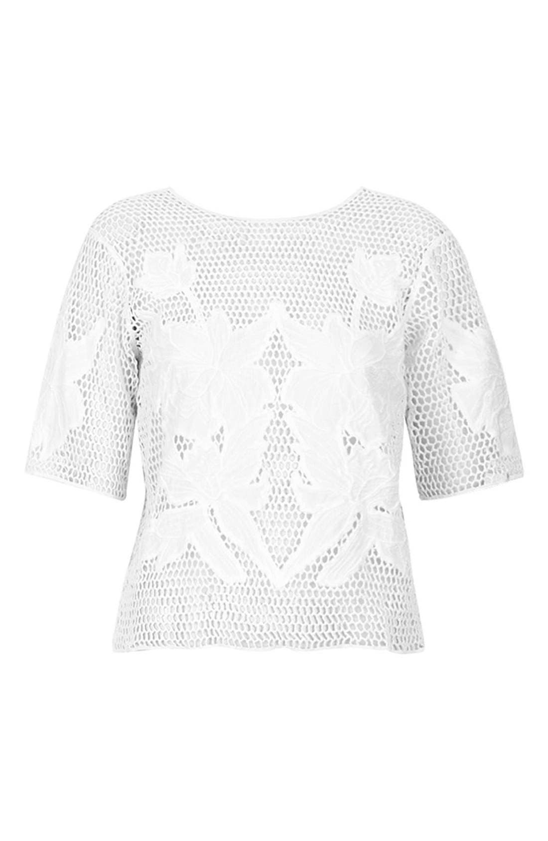 Alternate Image 3  - Topshop Flower Appliqué Open Knit Tee