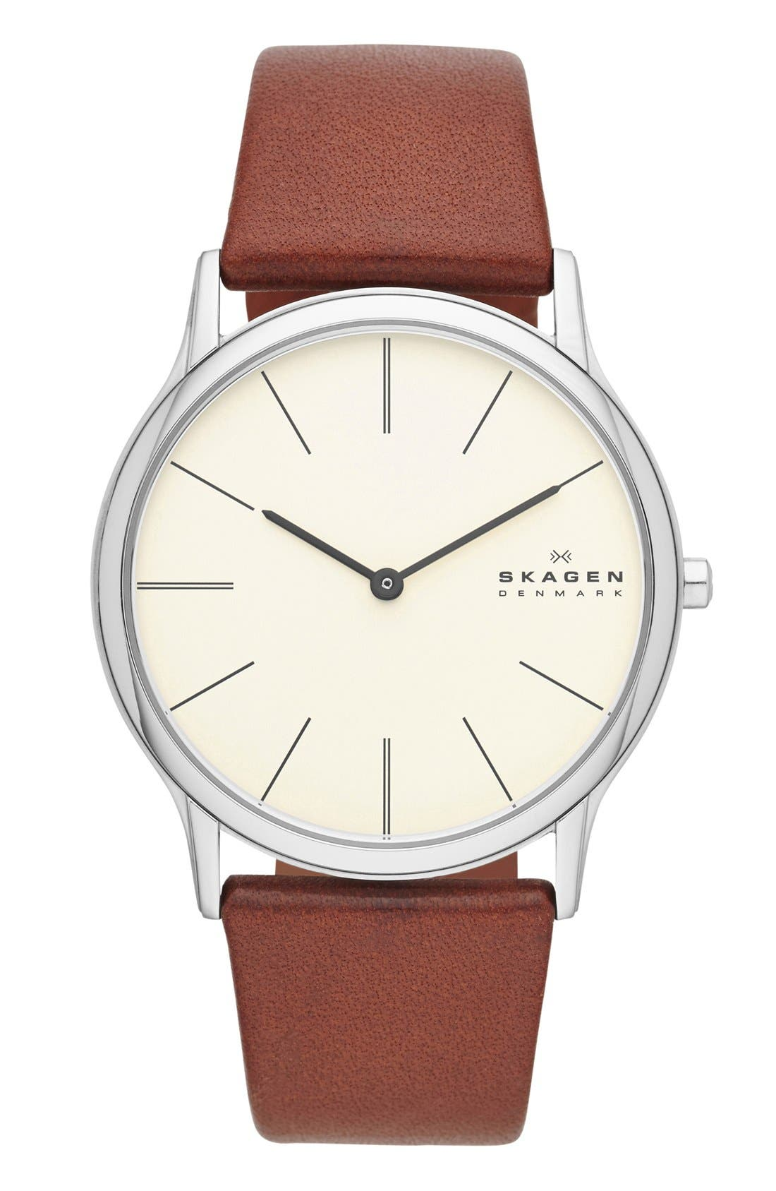 Alternate Image 1 Selected - Skagen 'Theodore' Round Leather Strap Watch, 39mm