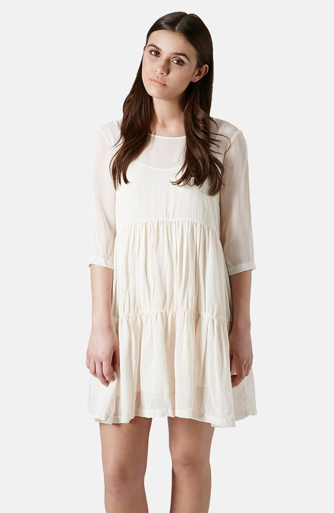 Main Image - Topshop Chiffon Tiered Smock Dress