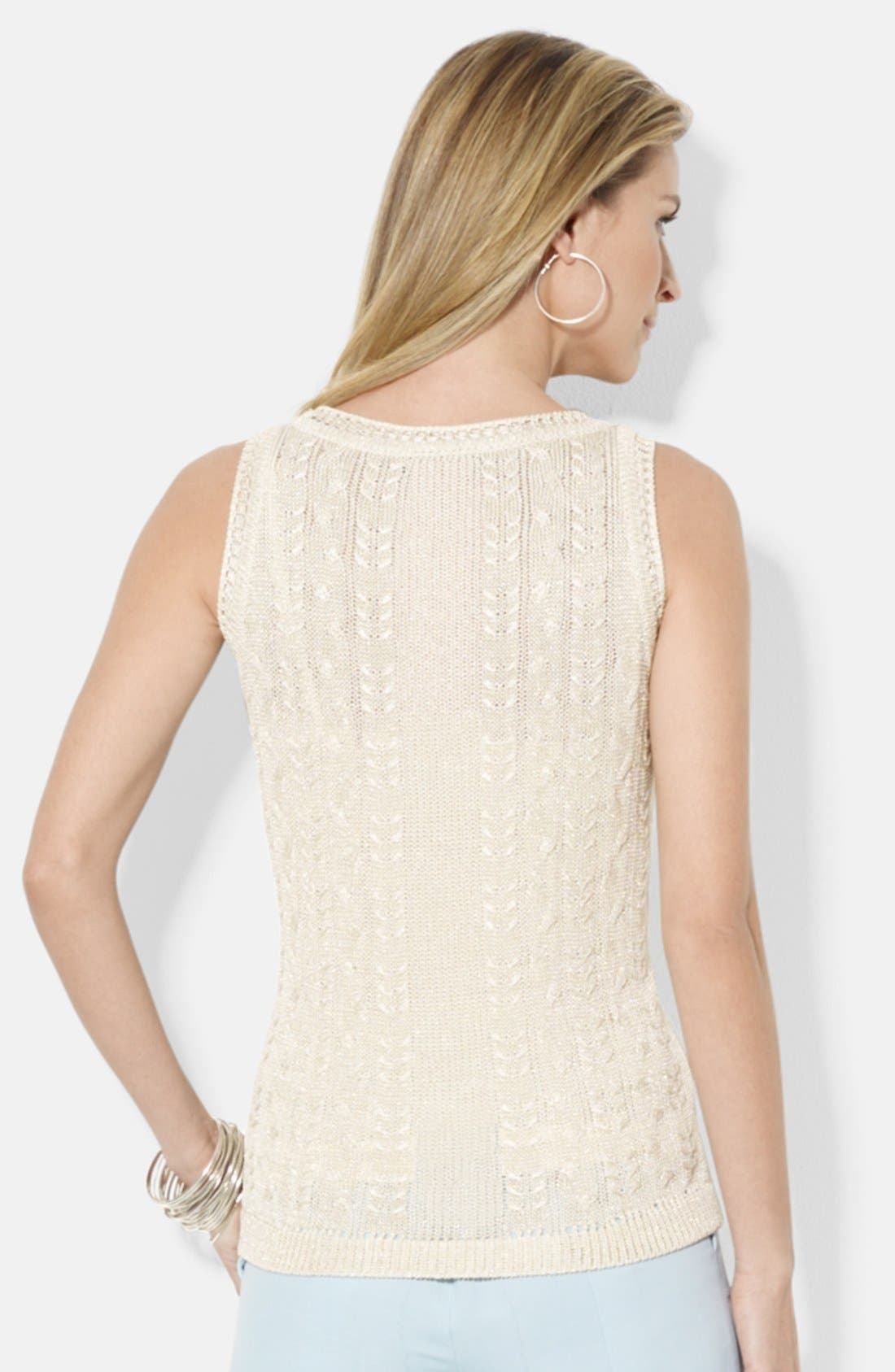 Alternate Image 2  - Lauren Ralph Lauren Scoop Neck Sleeveless Shell (Regular & Petite)