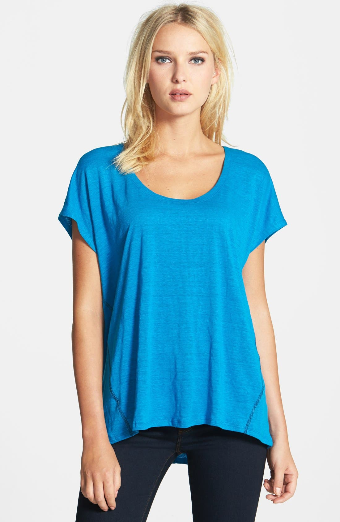 Main Image - Eileen Fisher Scoop Neck Organic Linen Top (Regular & Petite)