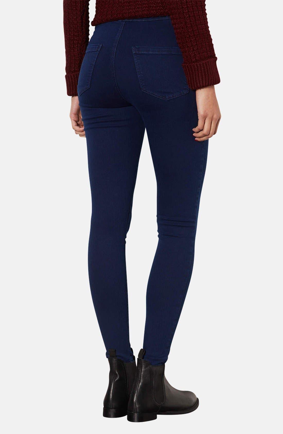 Alternate Image 2  - Topshop Moto 'Joni' High Rise Skinny Jeans (Blue) (Short)