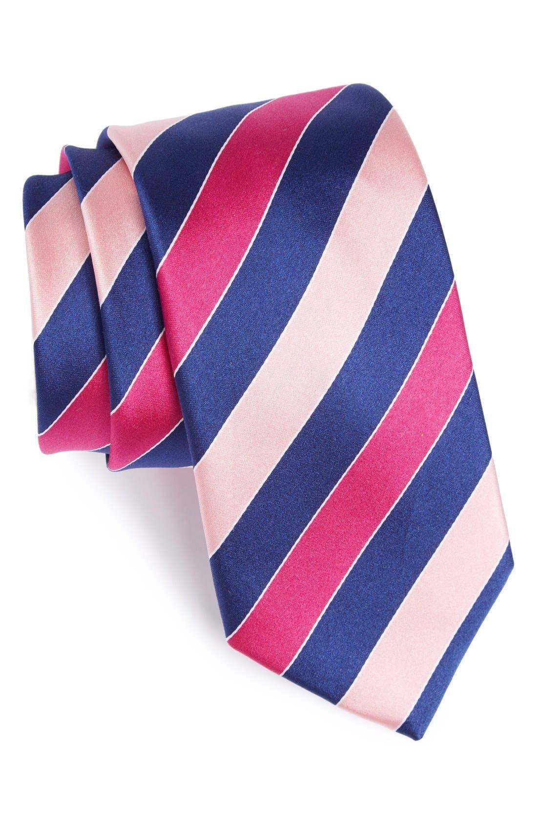 Alternate Image 1 Selected - Bugatchi Stripe Silk Tie