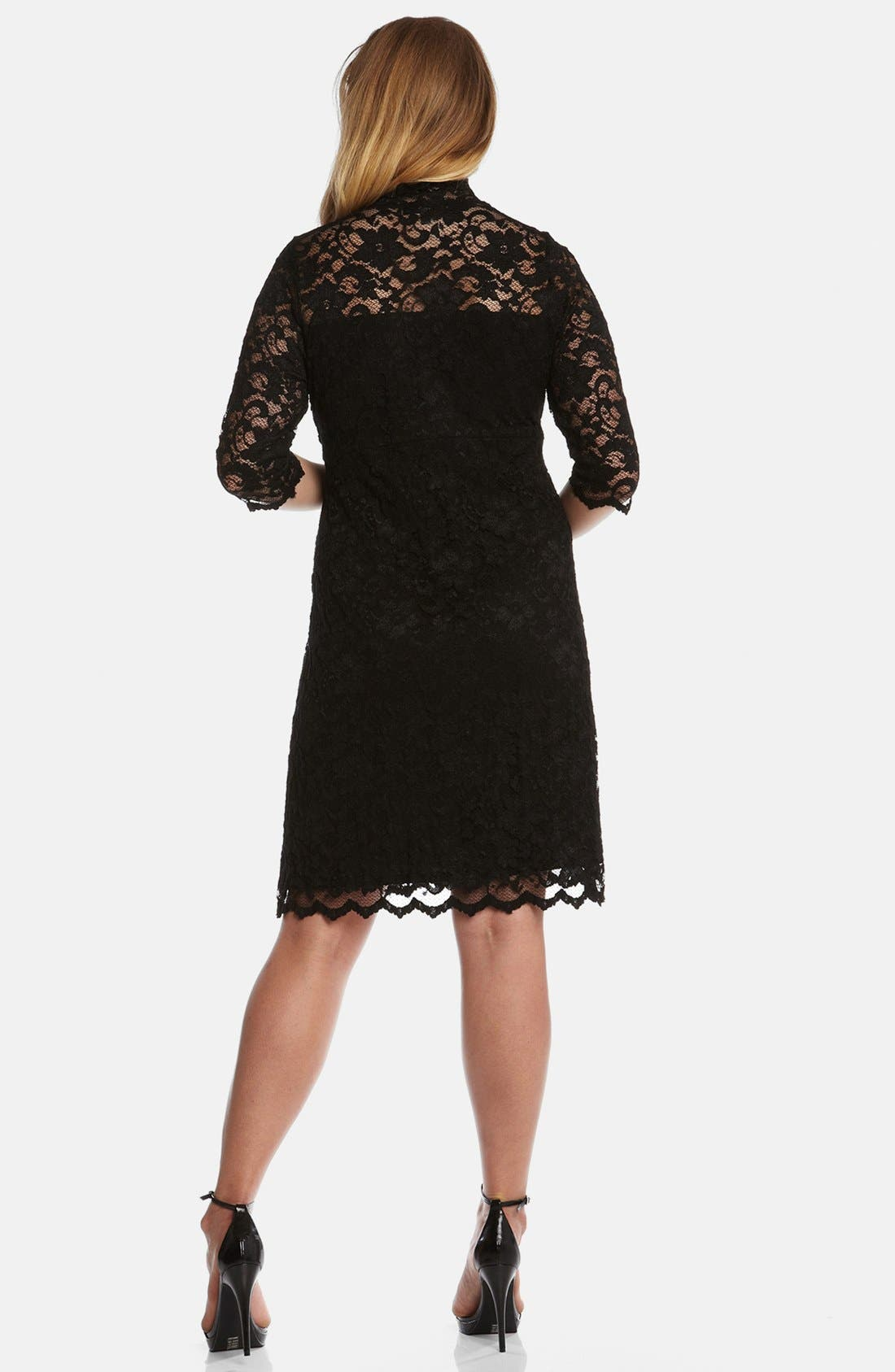 Alternate Image 2  - Karen Kane Split Neck Stretch Lace Dress (Plus Size)