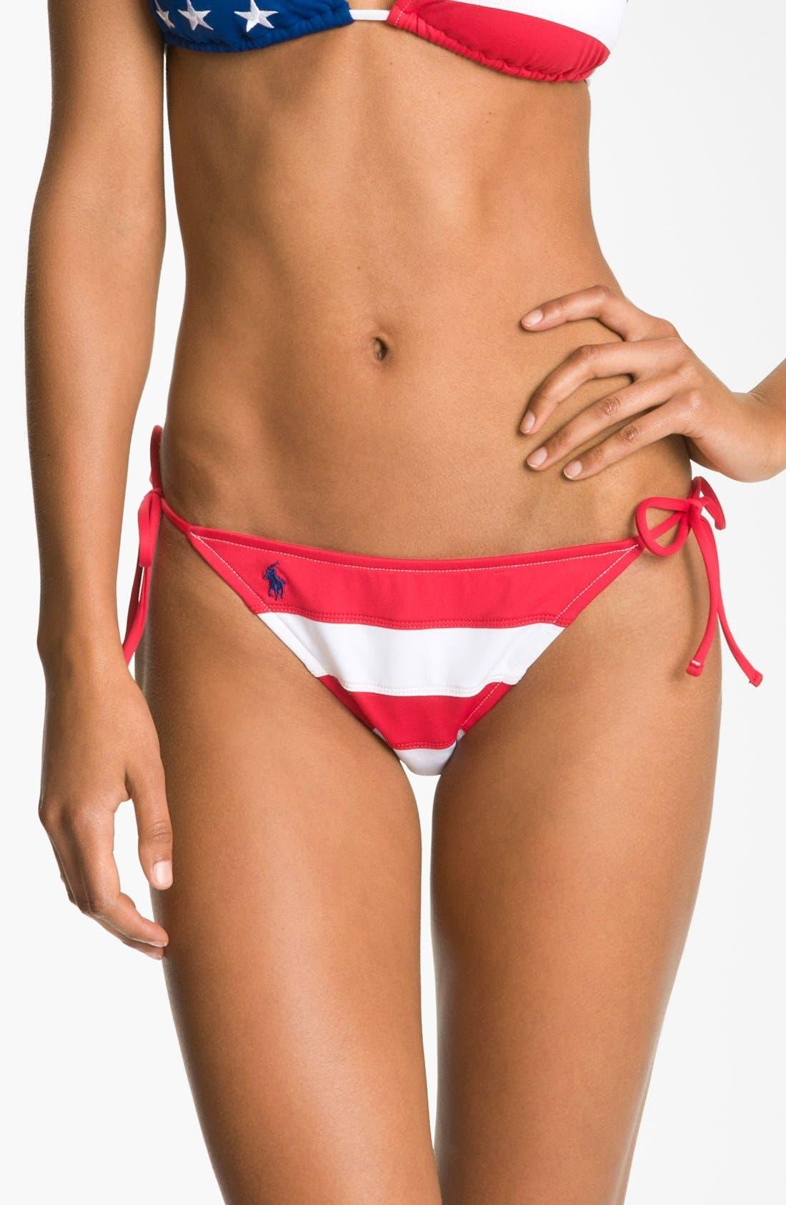 Main Image - Ralph Lauren Stripe Side Tie Bikini Bottoms