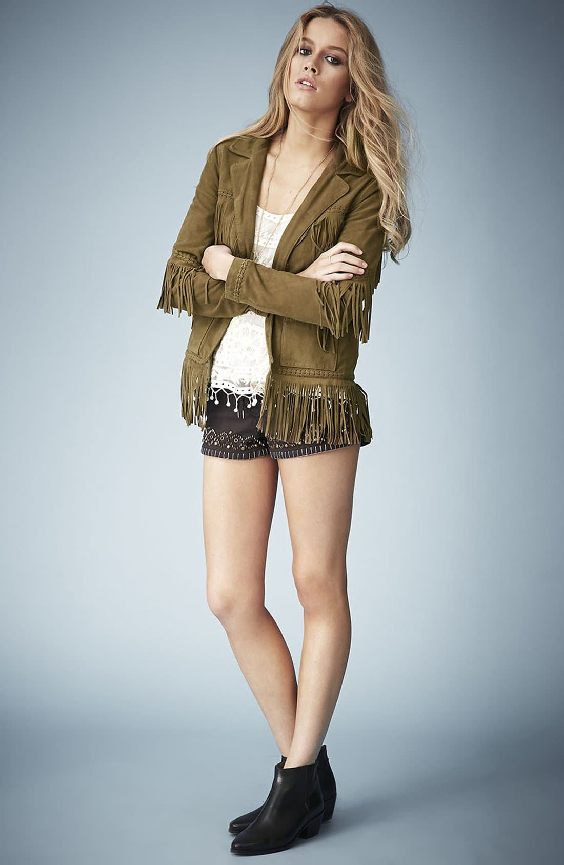 Alternate Image 5  - Kate Moss for Topshop Fringed Suede Jacket
